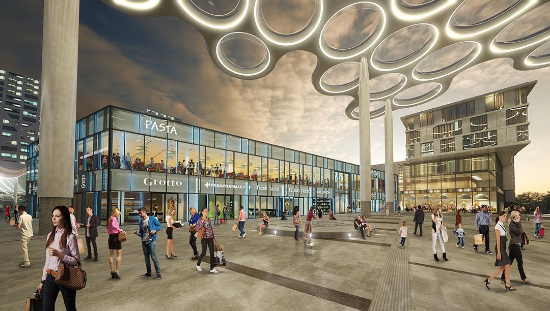 <p>Rendering Stationsplein perspectief Centraal Station: MoederscheimMoonen Architects</p>