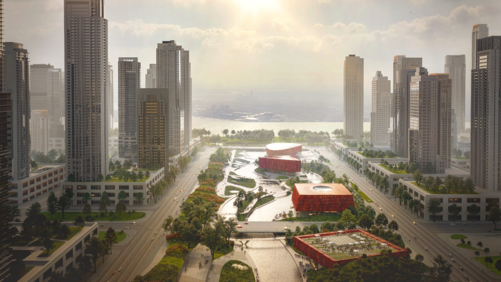 Benthem Crouwel Architects en Powerhouse Company, Hangzhou. Beeld 3D Studio Prins