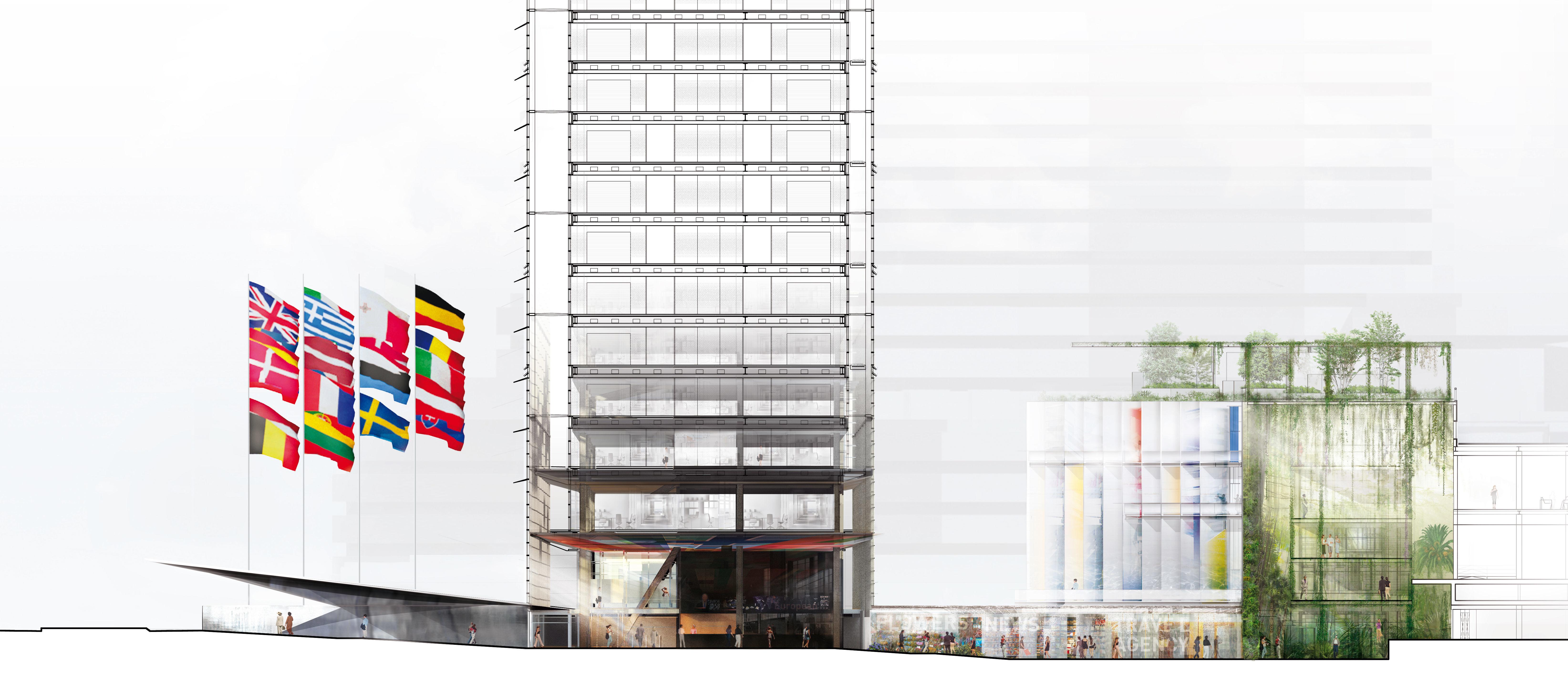 <p>European Patent Office, Rijswijk &#8211; Ateliers Jean Nouvel en Dam &#038; Partners Architecten. . Beeld Ateliers Jean Nouvel, Dam &#038; Partners en TBI Consortium New Main</p>