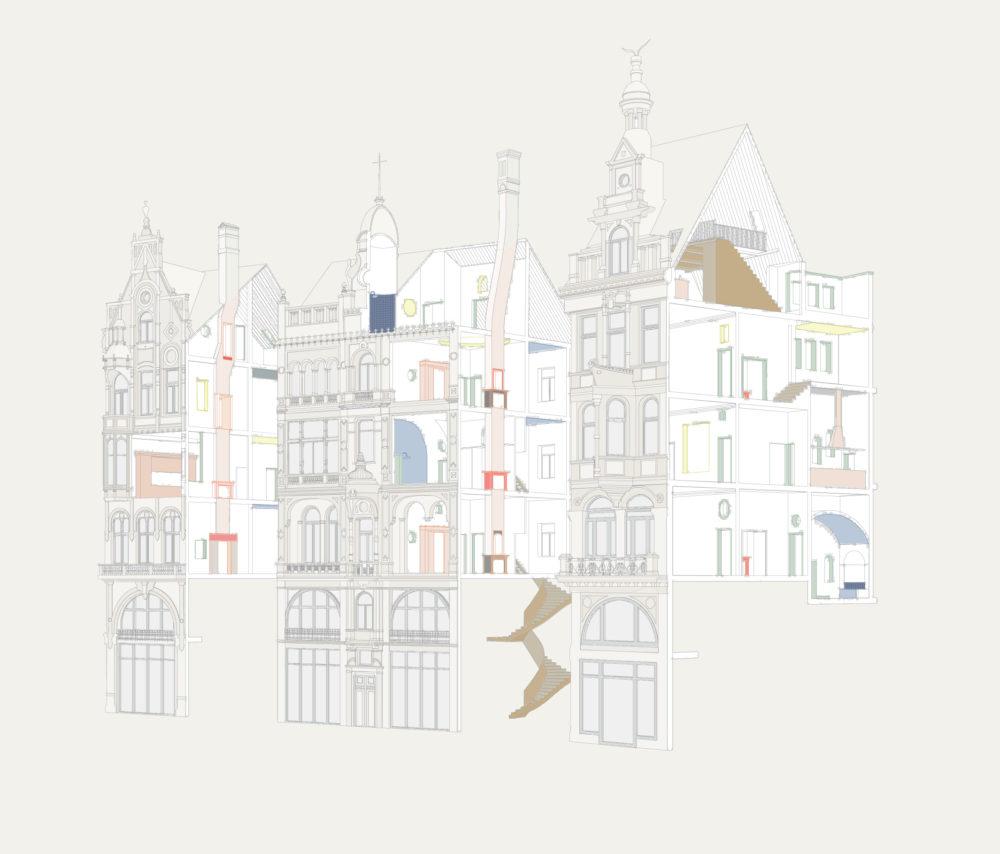 ARC18: Renovatie van drie historisch waardevolle gebouwen, Leysstraat Antwerpen – Bovenbouw Architectuur