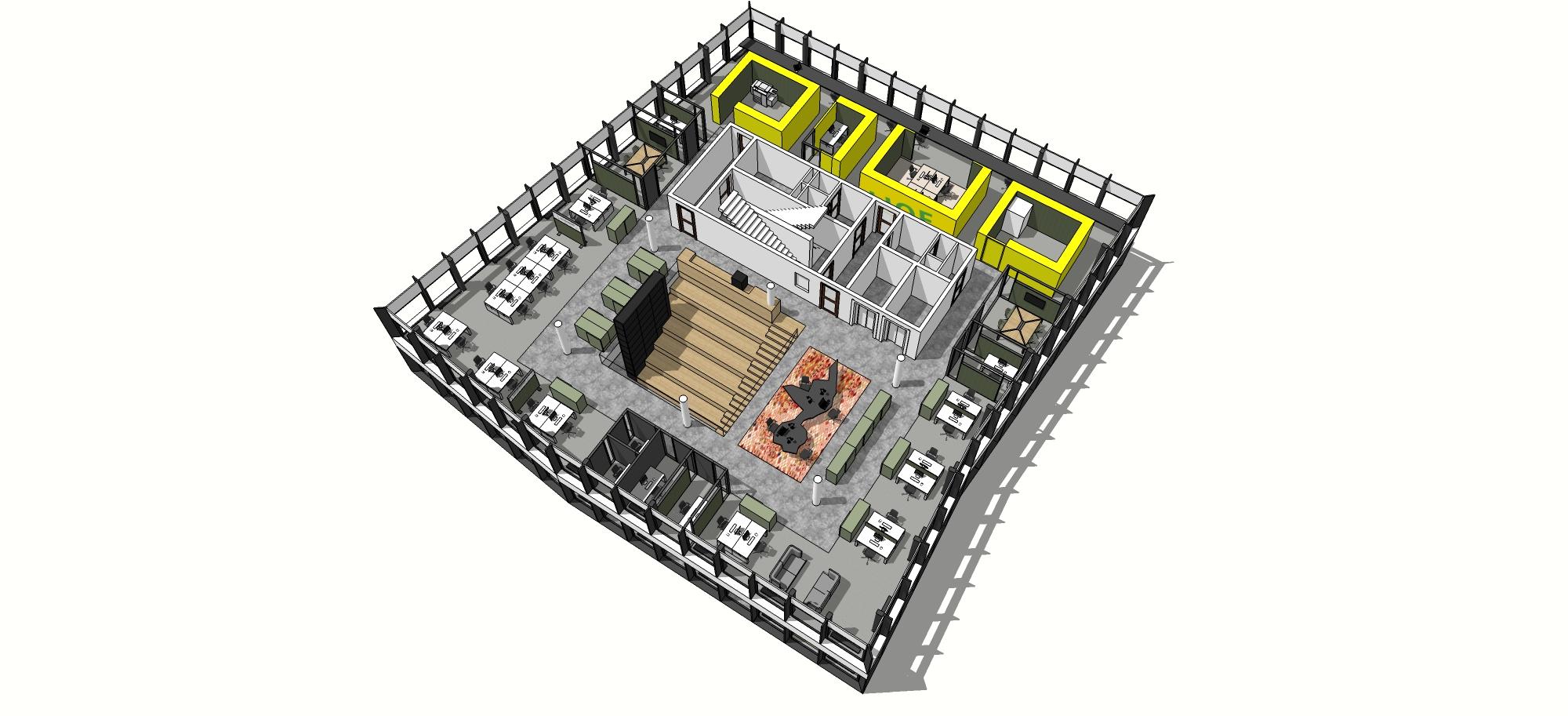 <p>verdieping met ruis gebied  werkplekken en stiltegebied</p>