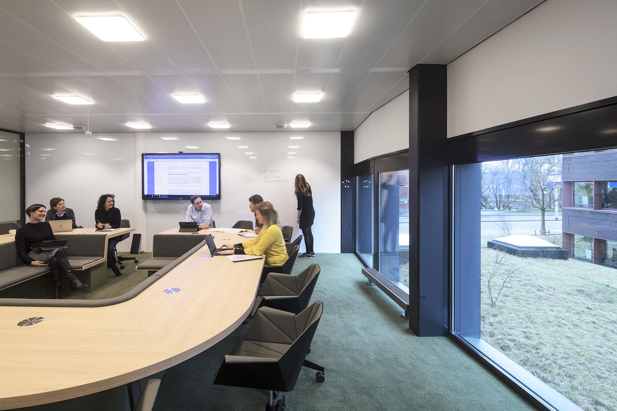 <p>vergaderruimte met agile voorzieningen en relatie met omgeving</p>