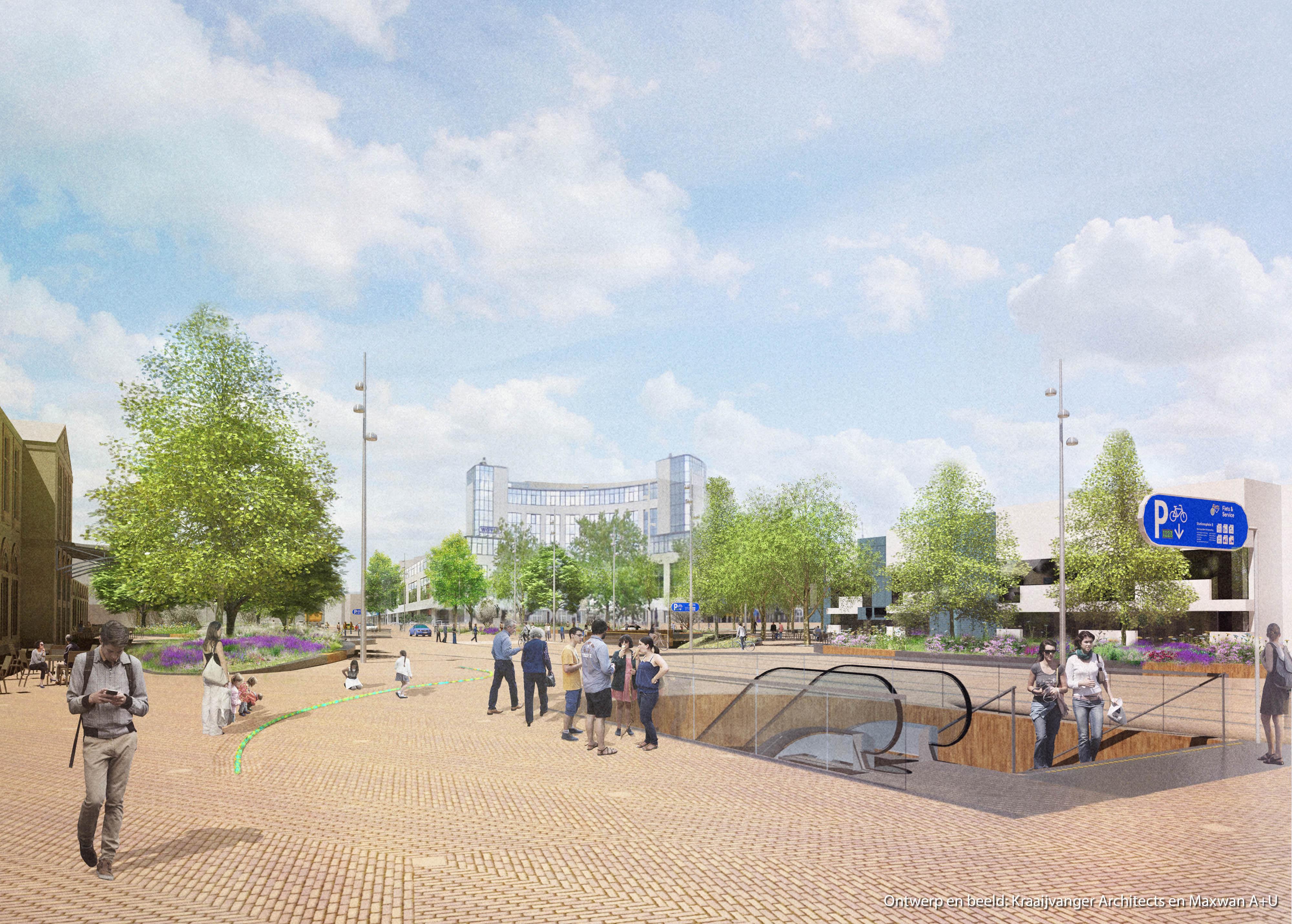 <p>Ondergrondse fietsenstalling en herinrichting Stationsplein Zwolle naar ontwerp van Kraaijvanger Architects en Maxwan</p>