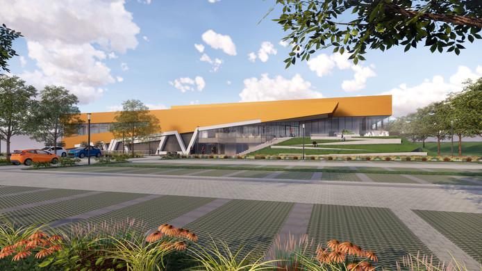 WRZV sporthallen Zwolle. Beeld: AGS Architects