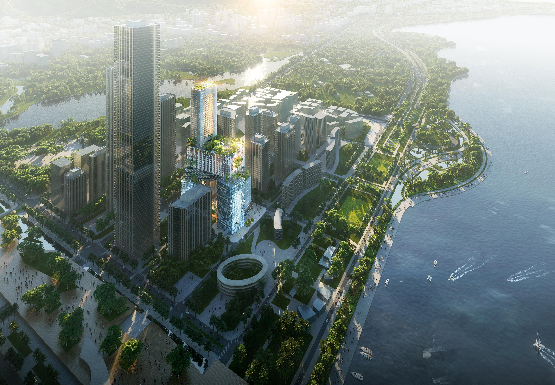 <p>Hoogbouw Vanke 3D City door MVRDV in Shenzhen (China), beeld ATCHAIN</p>