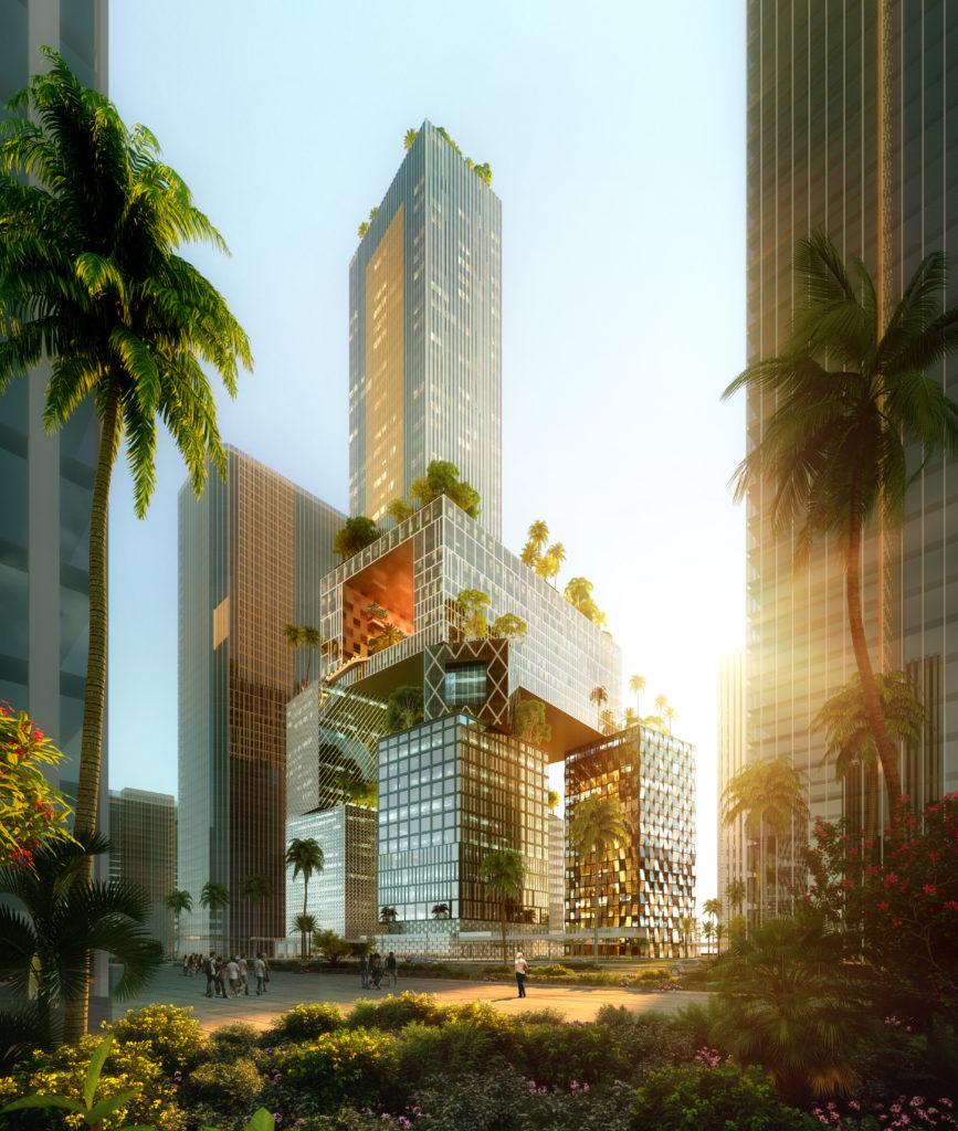 Hoogbouw Vanke 3D City door MVRDV in Shenzhen (China), beeld ATCHAIN