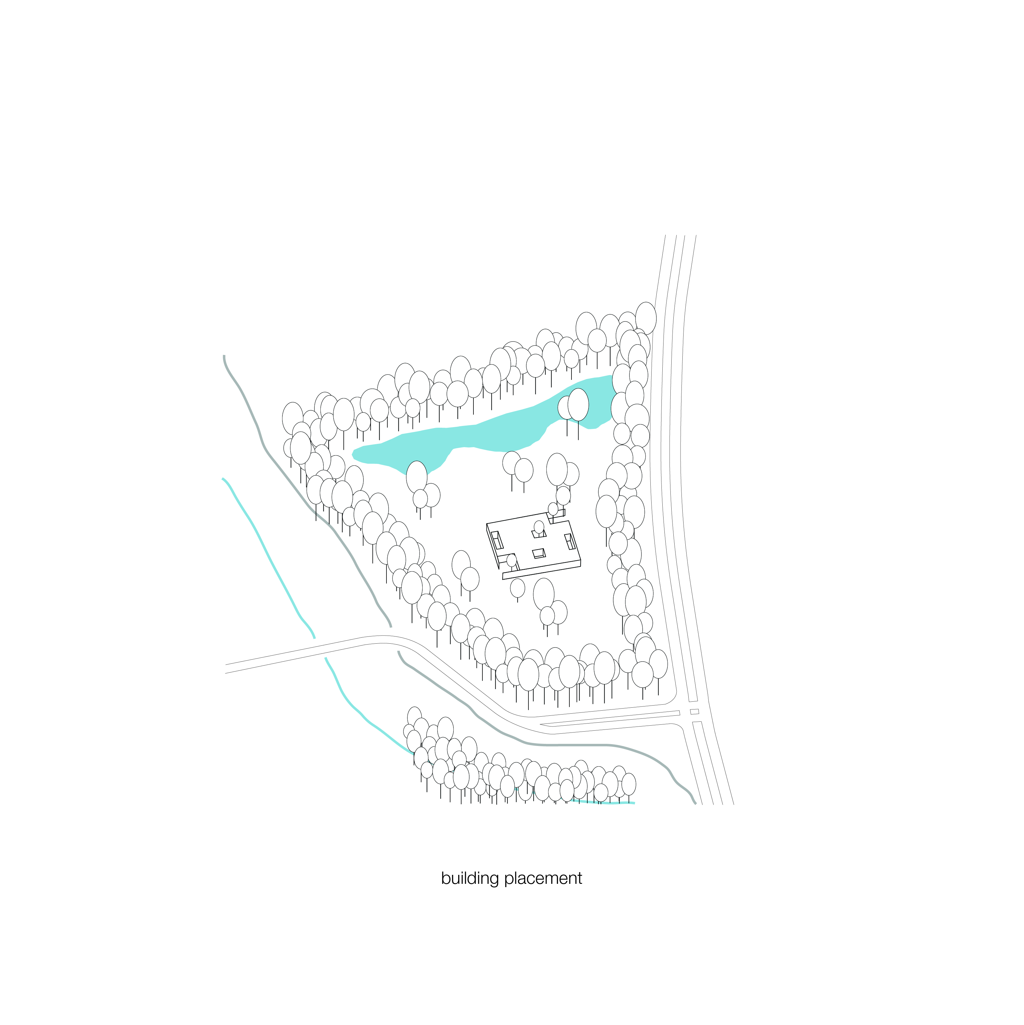 <p>Schema plaatsing gebouw. Crematorium Siesegem -KAAN Architecten. </p>