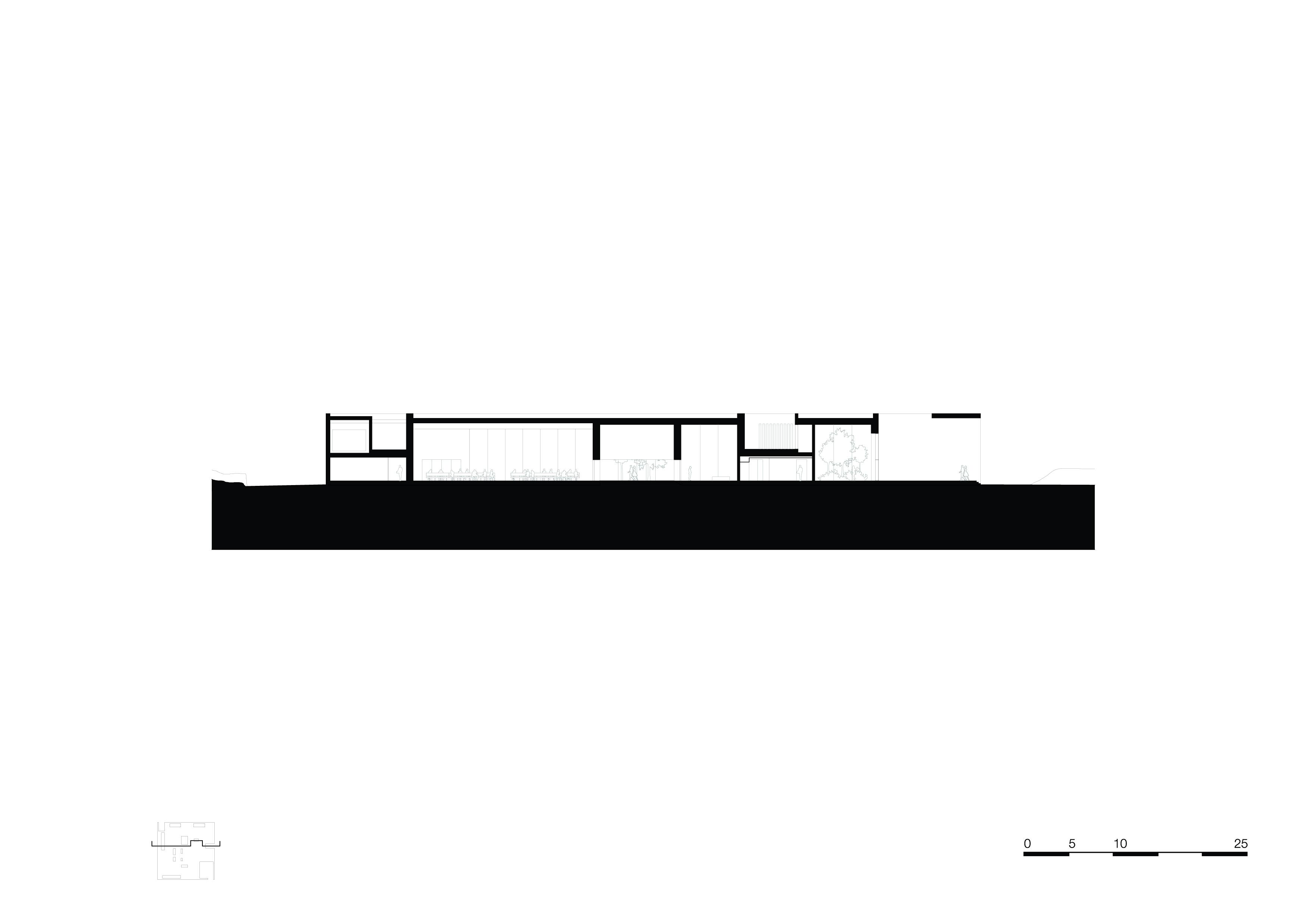 <p>section-c-c. Crematorium Siesegem -KAAN Architecten. beeld Simone Bossi</p>