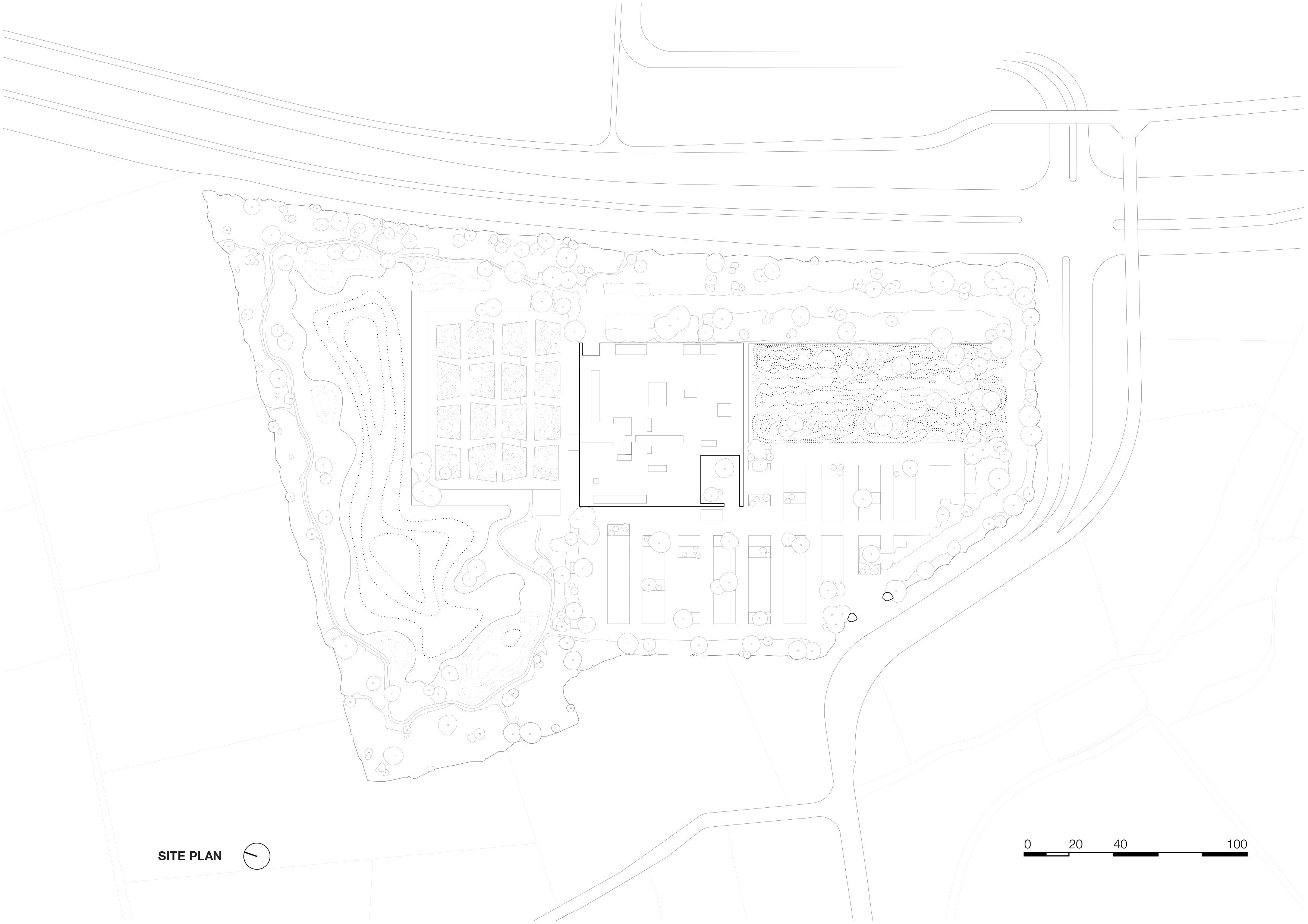 <p>siteplan 1_2000. Crematorium Siesegem -KAAN Architecten. beeld Simone Bossi</p>