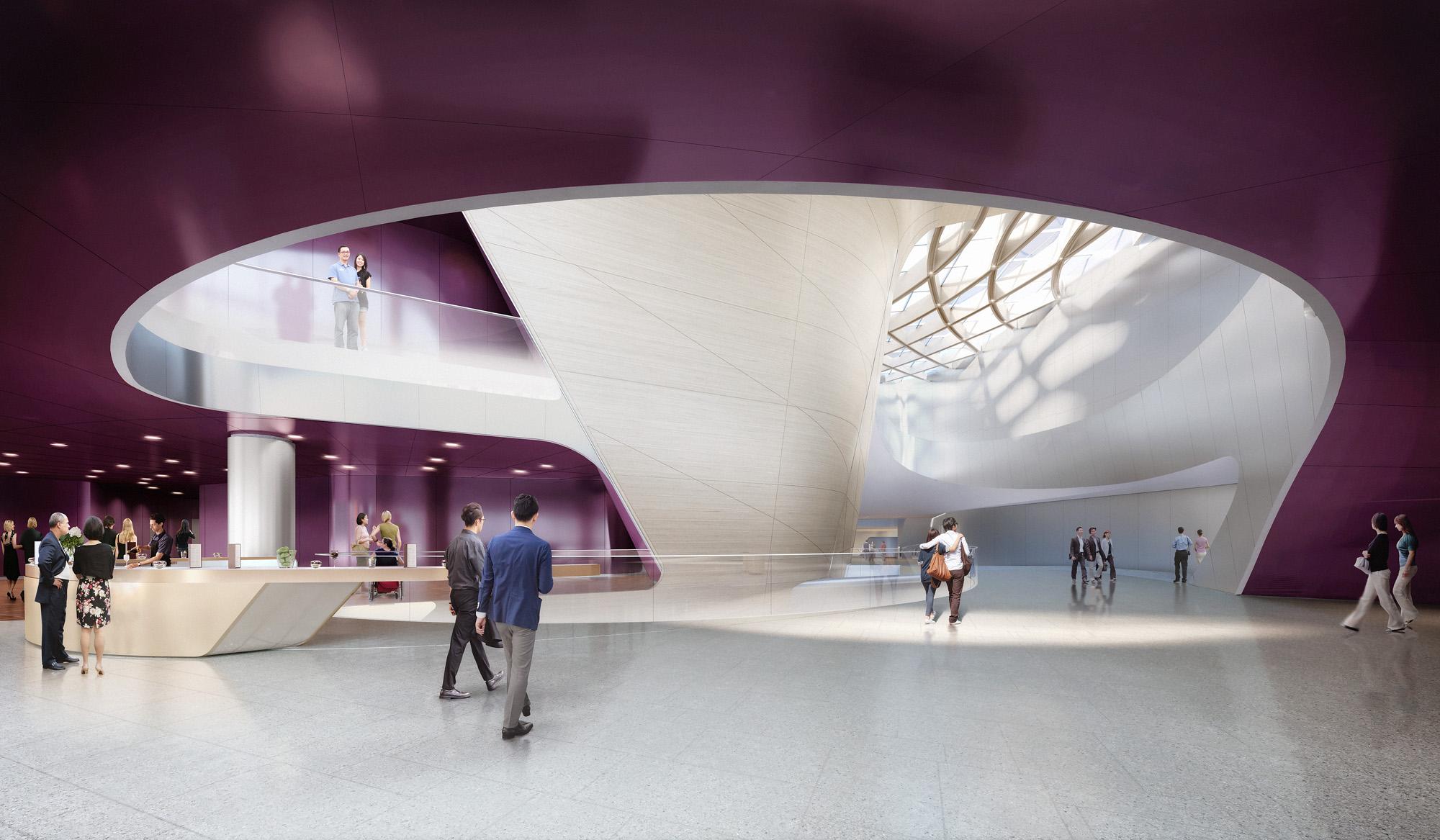 <p>Deze semi-openbare foyers en de openbaar toegankelijke Central Spine vormen samen als het ware een vierde 'podium'. Tussen de verschillende ruimtes ontstaat een interessante wisselwerking tussen de bezoekers van zien en gezien worden. Elk van de foyers loopt vloeiend over in de Central Spine, waardoor net als in de zalen zelf op meerdere niveaus balkons ontstaan met een eersterangs zicht op het dynamische schouwspel dat zich hier ontvouwt. Beeld: DBOX</p>
