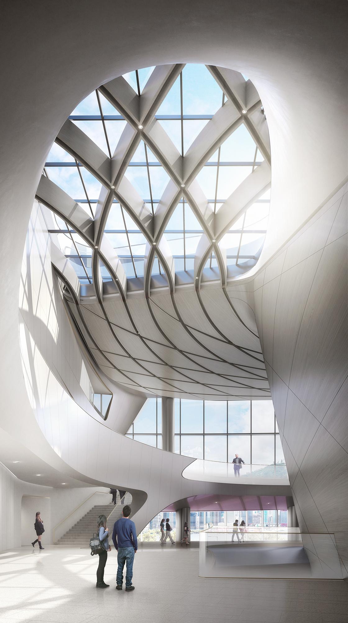 <p>Om te zorgen dat alledrie de zalen tegelijk gebruikt kunnen worden, hebben ze elk een eigen foyer met directe toegang tot een buitenterras dat, afhankelijk van de ligging binnen het complex, uitzicht biedt op het Artist Square of de haven. Beeld: DBOX</p>