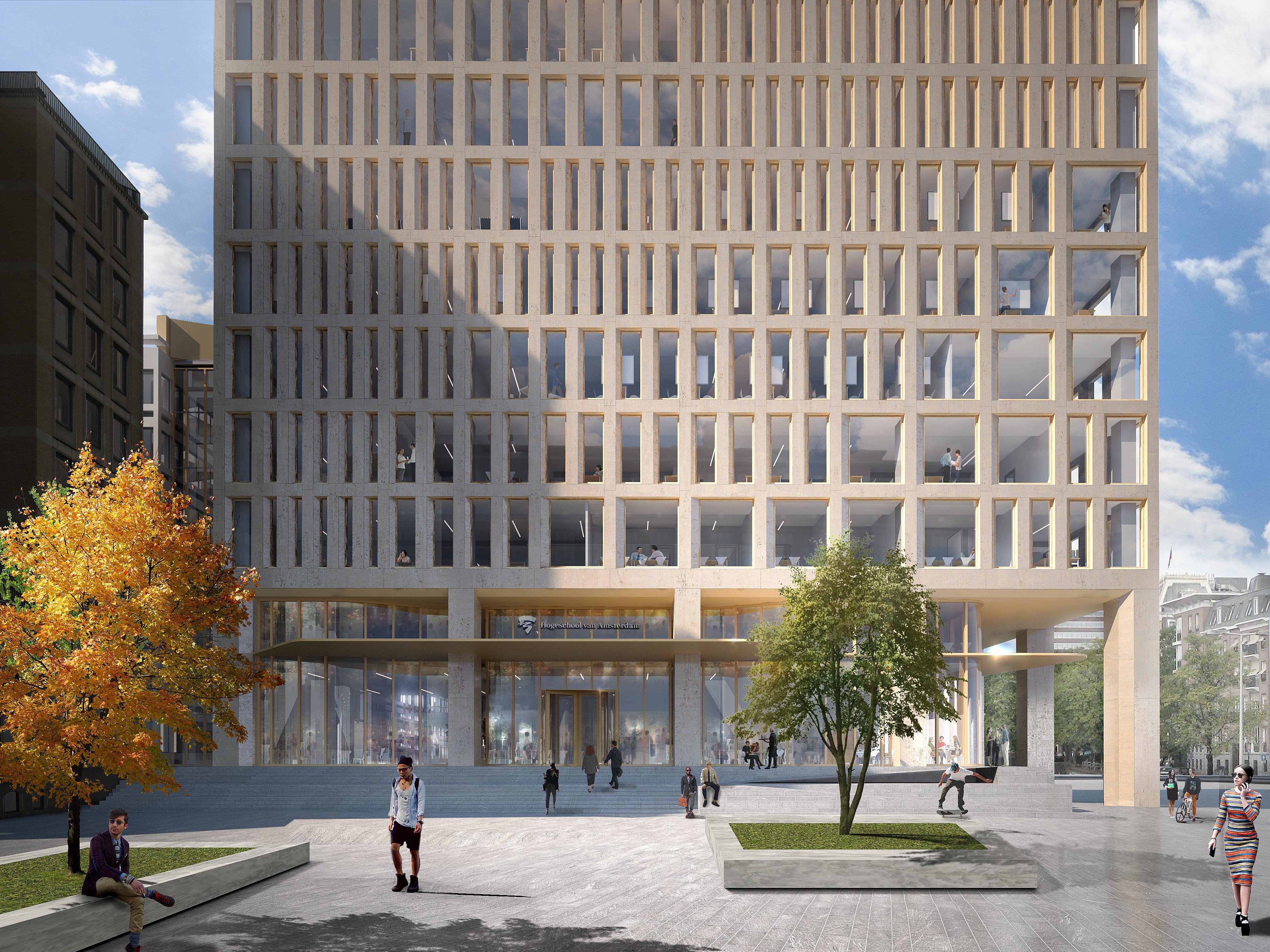 <p>Conradhuis voor Hogeschool van Amsterdam door Team RSG (Powerhouse Company, de Architekten Cie. en Marc Koehler Architects), beeld Powerhouse Company</p>