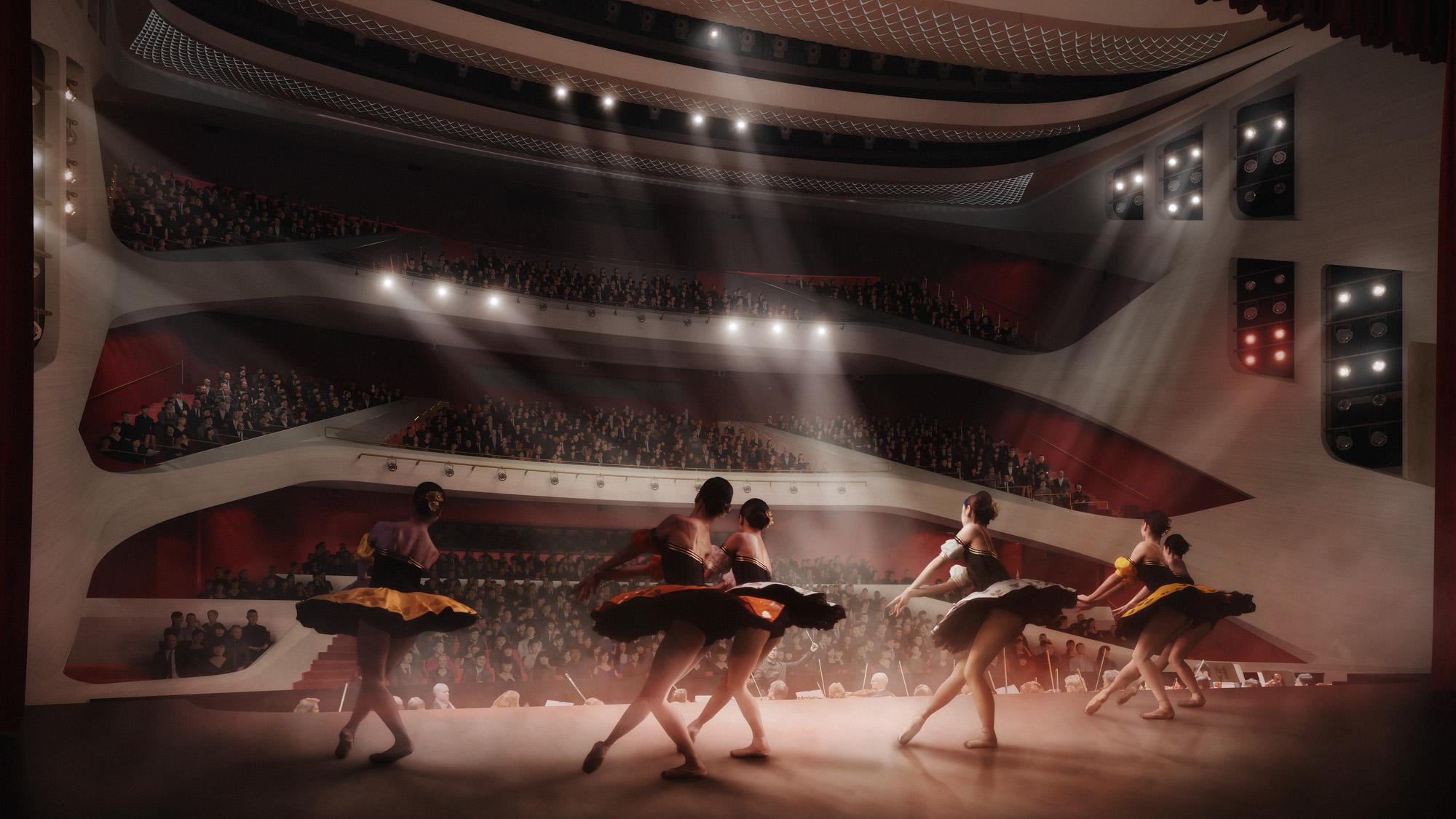 <p>De eerste ring van het balkon in het Lyric Theater, waar zich de beste plaatsen bevinden, is extra breed, terwijl de kleinere zitvakken op de etages in deze grote zaal voor de nodige intimiteit zorgen. Om een intieme sfeer te creëren, zijn het bovenste en onderste deel van de zaal zo vormgegeven dat ze een optisch geheel vormen. Beeld: Hong Kong Ballet</p>