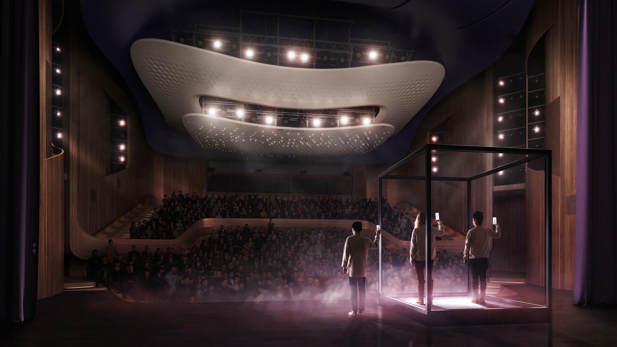 <p>Enkel en alleen gescheiden door een geometrisch gebaar, lijkt het bovenste balkon te 'zweven'. Beeld: Hong Kong Repertory Theatre</p>