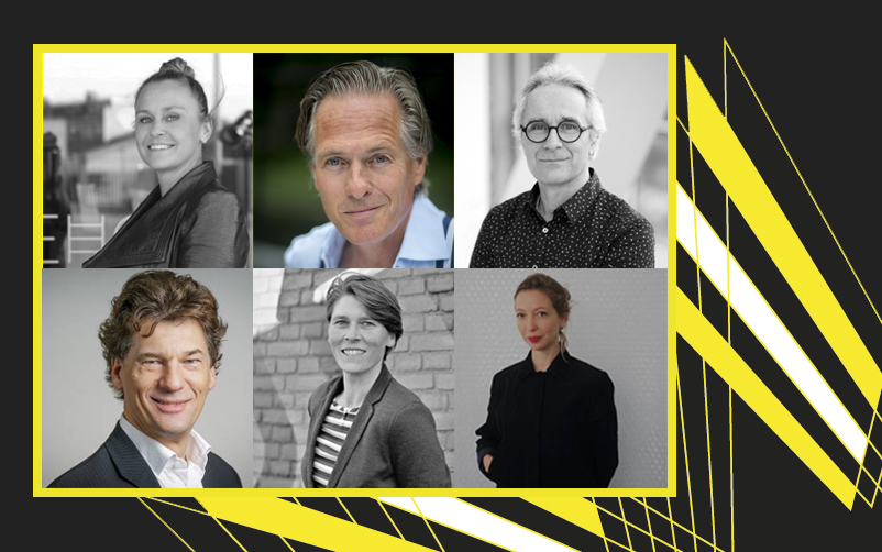 Jury BNA Beste Gebouw van het Jaar 2019: Bianca Seekles, Jort Kelder, Jeroen van Schooten, Ferdi Licher, Renske van der Stoep en Chantal Schoenmakers