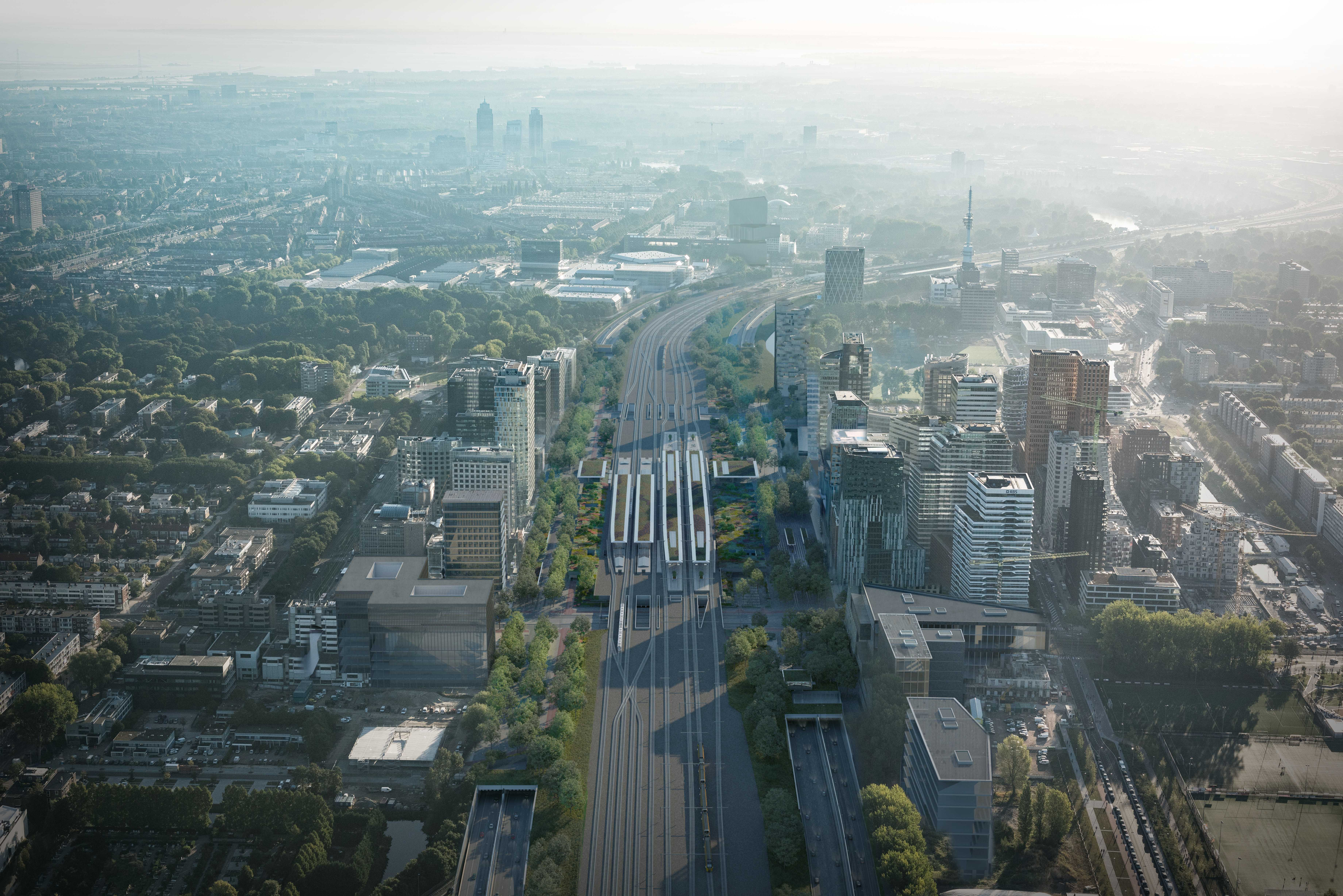 <p>Zuidasdok Amsterdam – ZuidPlus. Beeld: ZJA Architects</p>