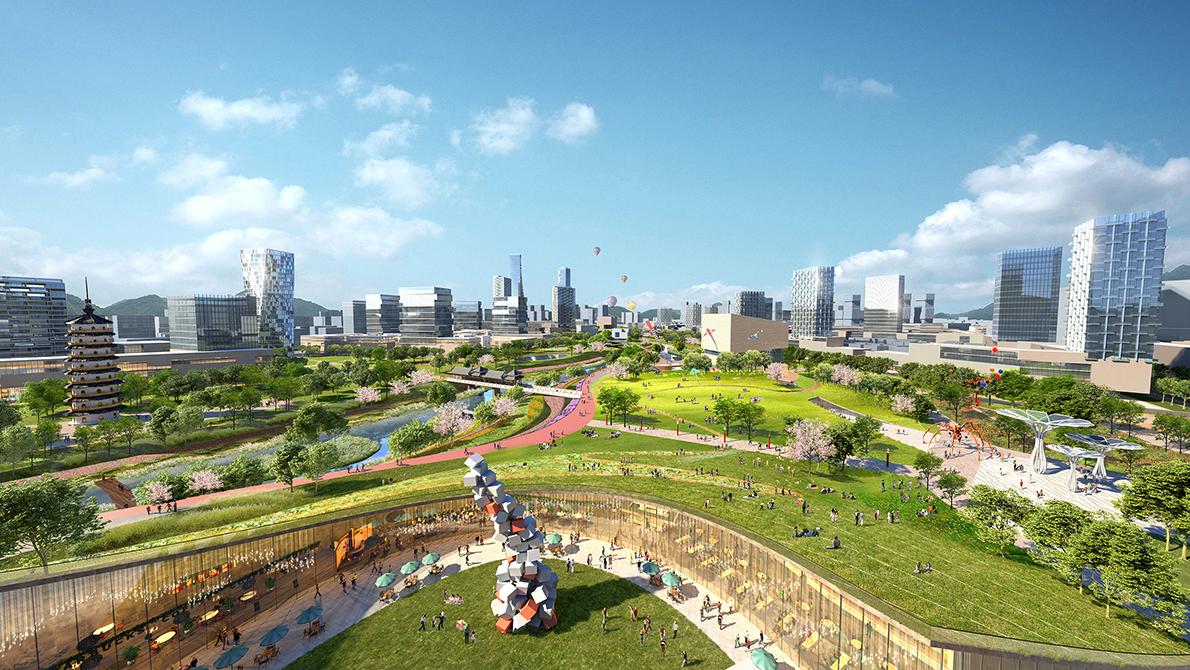 <p>Masterplan Longgang Riverfront Shenzhen in China door KCAP en CAUPD, beeld Silkroad CG voor KCAP+CAUPD</p>
