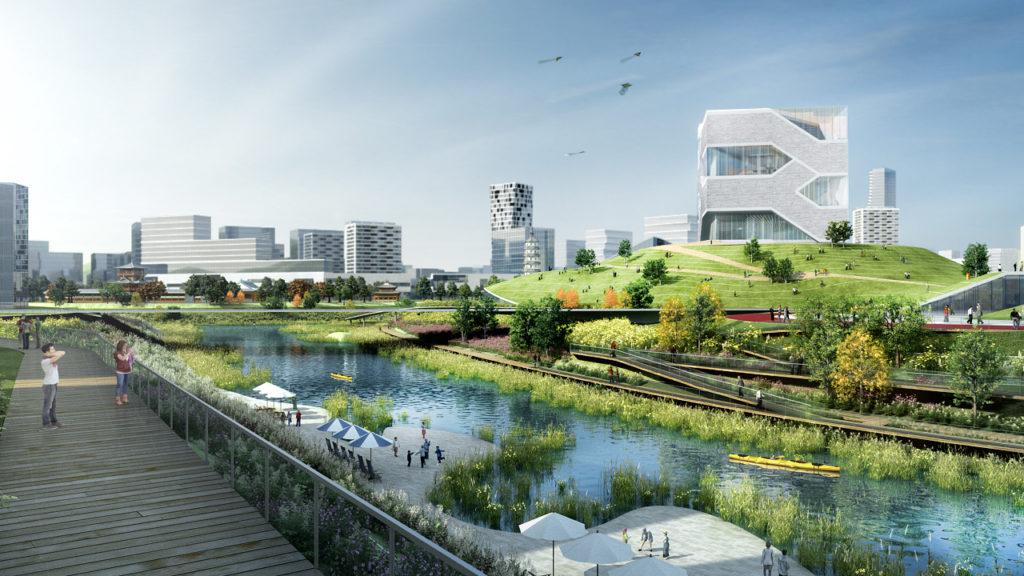 Masterplan Longgang Riverfront Shenzhen in China door KCAP en CAUPD, beeld Silkroad CG voor KCAP+CAUPD