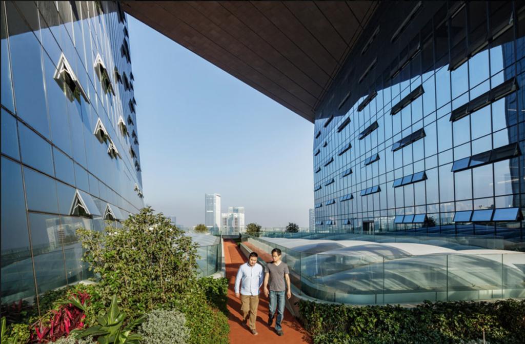 Dakterras van Tencent Seafront Towers in Shenzen door NBBJ. Beeld NBBJ / Tim Griffith