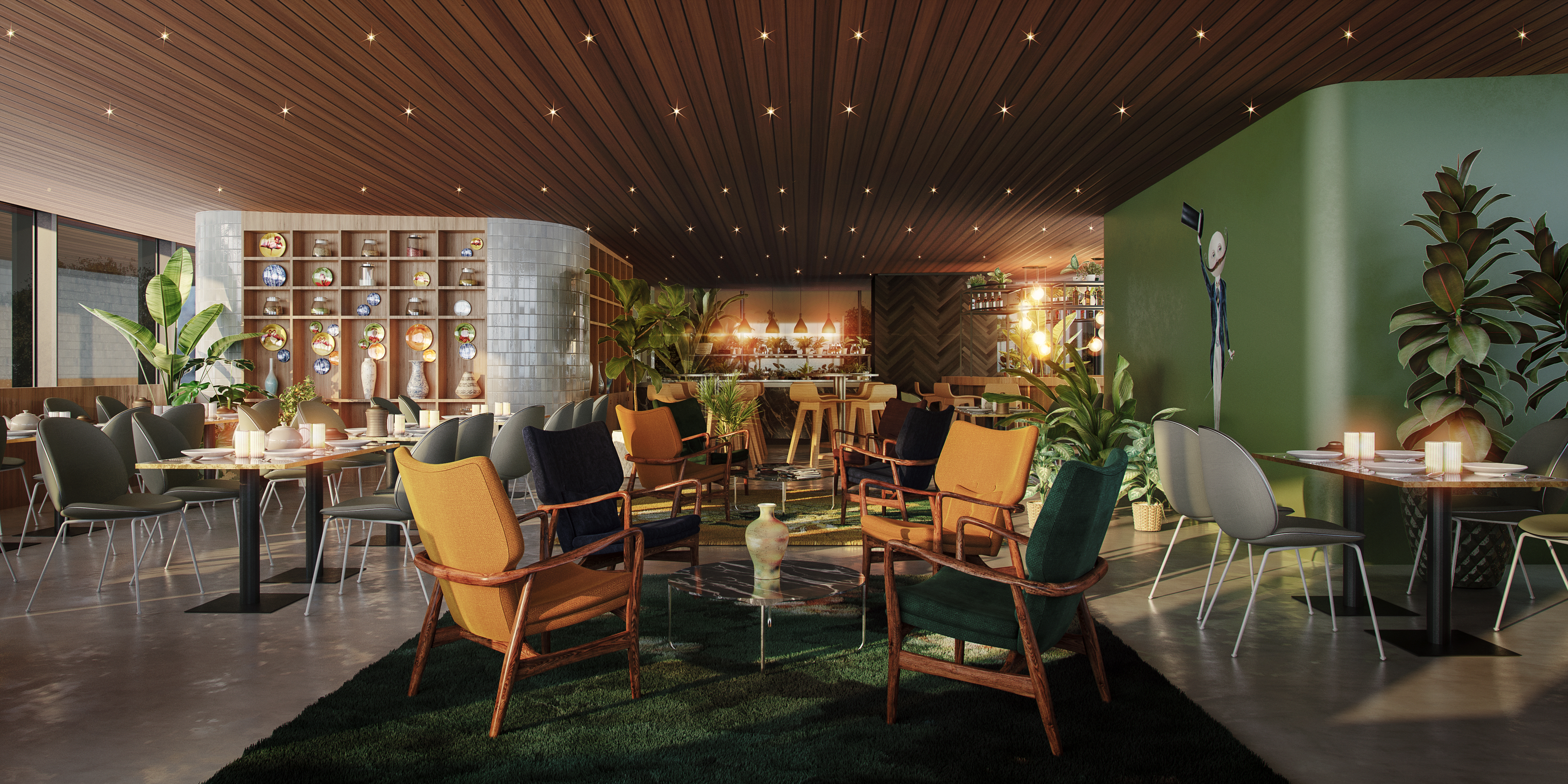 <p>Interieur bovenverdieping restaurant. Beeld: Powerhouse Company</p>