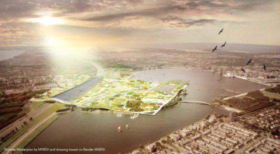 70F wint WAFX met concept zonnepanelendak boven snelweg Floriade Almere 2022