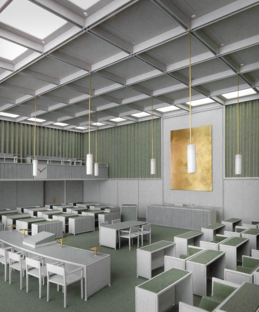 Maquette tijdelijke plenaire zaal Eerste Kamer Den Haag, beeld Happel Cornelisse Verhoeven