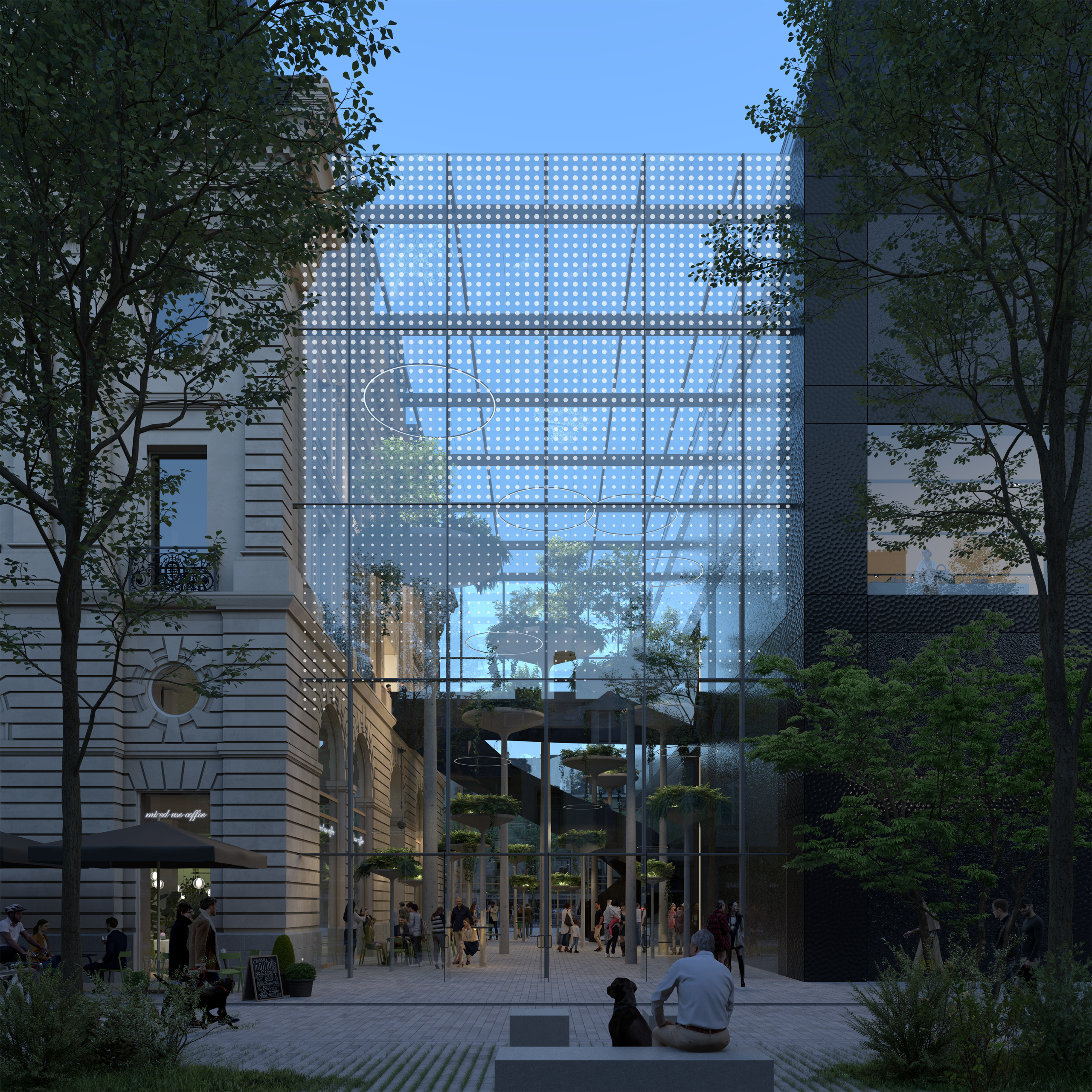 <p>Transformatie Palais du Commerce in Rennes door MVRDV, beeld ENGRAM</p>