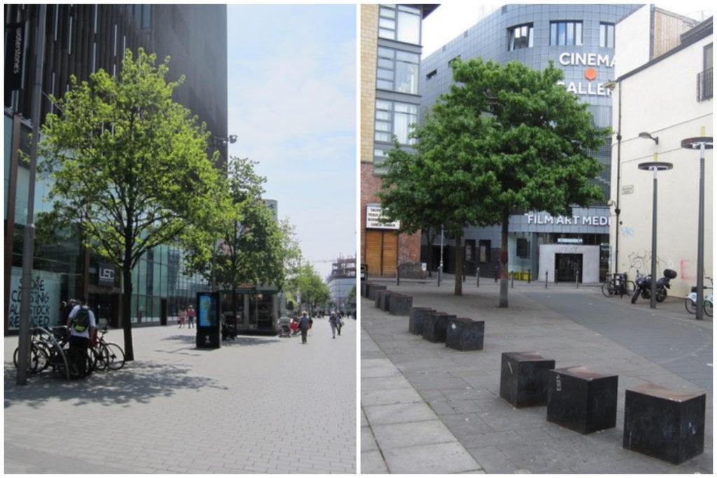 Ruimtelijke kwaliteit in Liverpool One (links) en Ropewalks (rechts), ontwerpbureau BDP stond garant voor beide stedenbouwkundige ontwerpen, beeld Els Leclercq