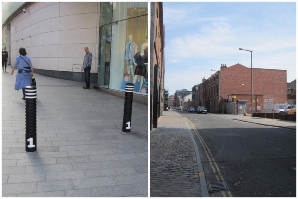 In Liverpool ONE is enerzijds een naadloze overgang van publiek naar privaat (links) en anderzijds een harde grens (rechts), beeld Els Leclerq