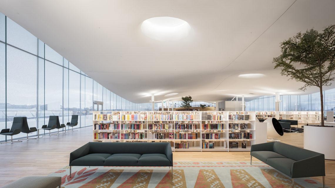 <p>Bovenste bibliotheekverdieping. Central Library Oodi. Helsinki door ALA Architects. Beeld Tuomas Uusheimo</p>