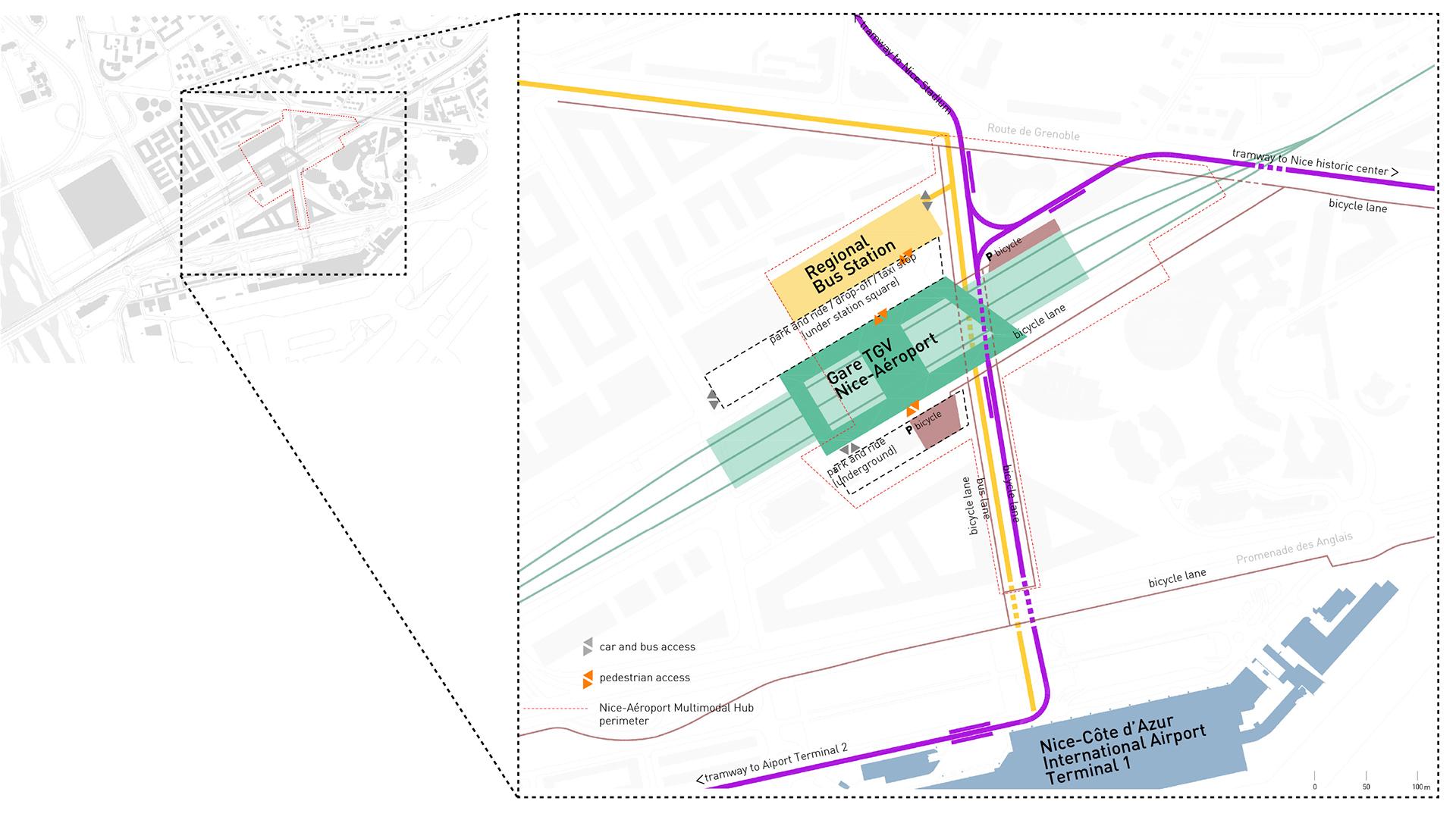 <p>Het TGV-station met bus- en tramverbindingen naar de stad en naar de luchthaven</p>