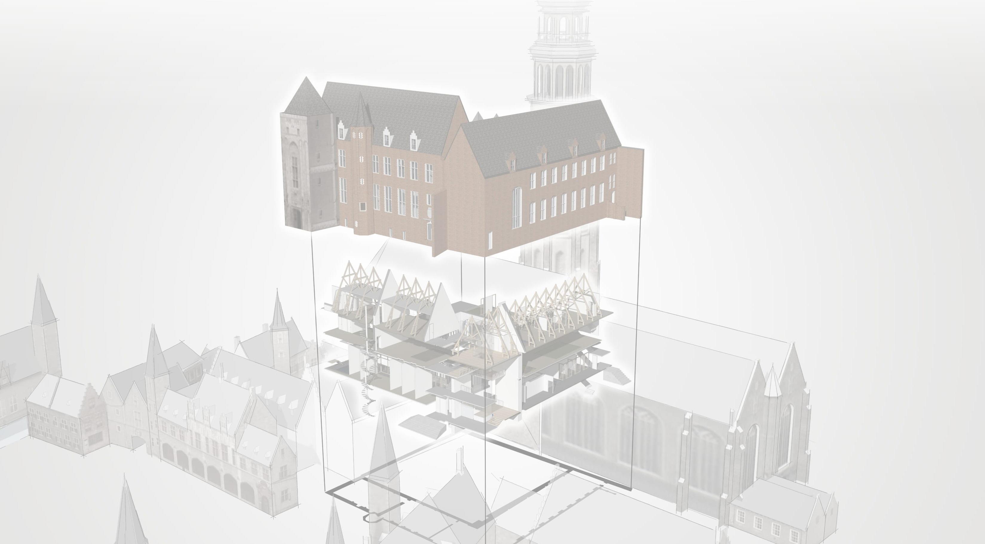<p>De Librije heeft een historisch ogende gevel, maar is dankzij de renovatie van na de oorlog in feite een modern gebouw met een betonnen vloerconstructie. </p>