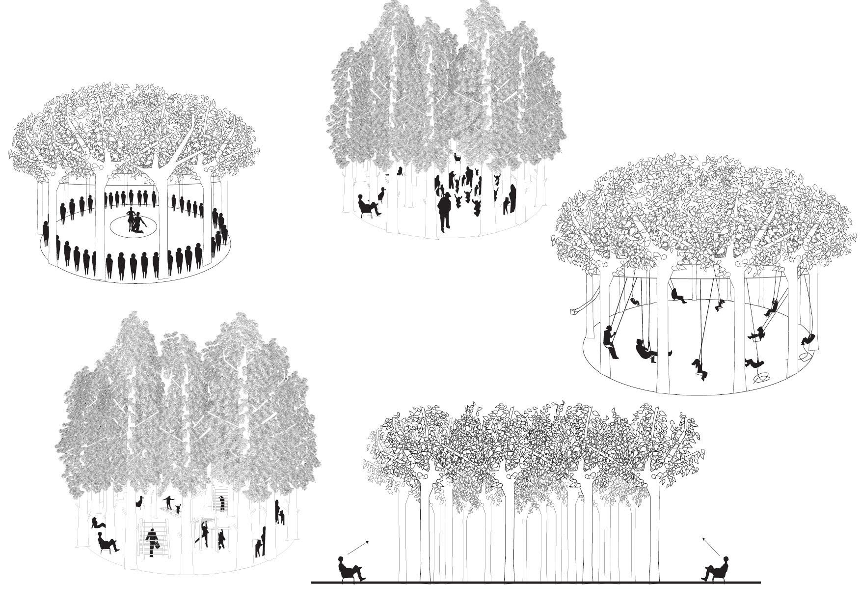 <p>Voor het park is het concept van de verticale kamer ontwikkelt: een omsloten ruimte met een dak van bladen</p>