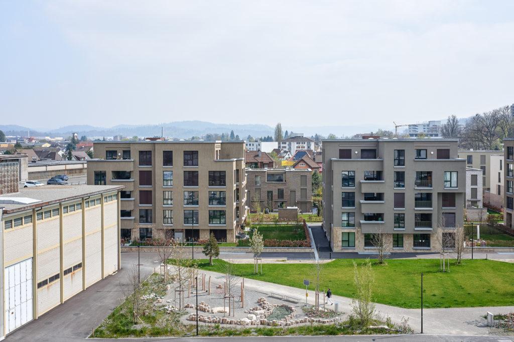 Aeschbachquartier Aarau Zwitserland door KCAP Beeld Beat Schweizer, illustratie © KCAP
