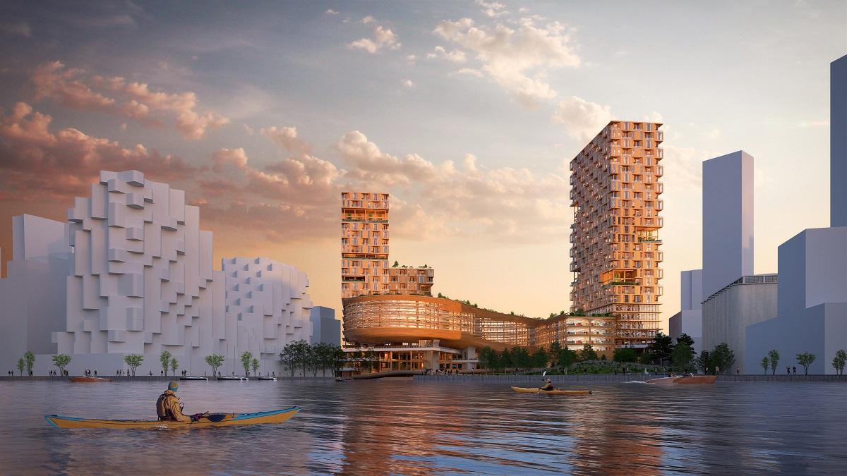 <p>De houten bebouwing komt aan de waterkant van Toronto te staan Beeld Snøhetta</p>