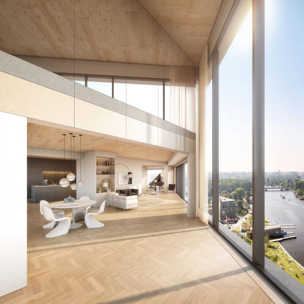 Dankzij de flexibele opzet zijn er ook loftachtige woningen mogelijk in het gebouw HAUT Amsterdam Beeld Zwartlicht