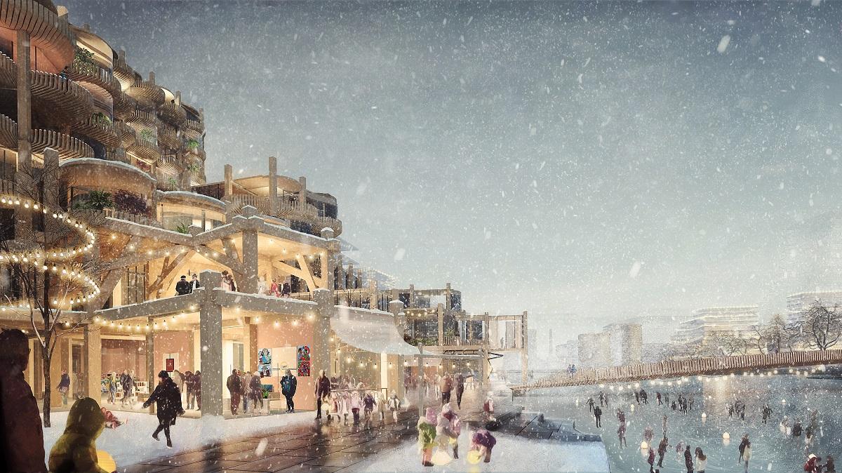 <p>Door de balkons ontstaat een directe relatie tussen stad en water Beeld Picture Plane voor Heatherwick Studio</p>