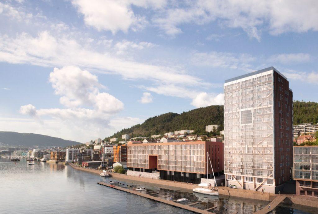 Woongebouw Treet in Bergen is ontworpen door Artec Arkitekter. In deze houthoogbouw van 51 m hoog zijn 62 appartementen over 14 verdiepingen ondergebracht. Beeld Bob BBL Bergen