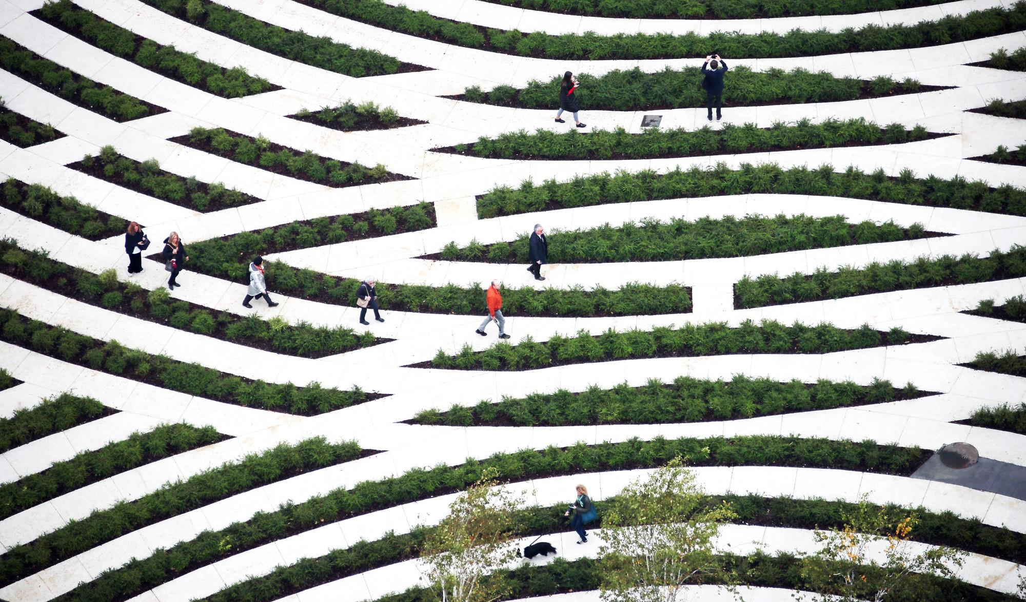 <p>Labyrint in Biblioteca degli Alberti in Milaan. Beeld Andrea Cherchi</p>