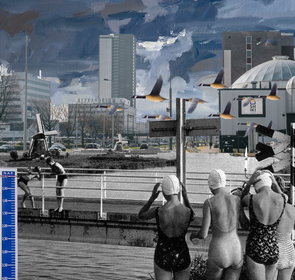 Collage, wat als het originele waterrijke landschap weer de ruimte krijgt in Alexanderpolder?
