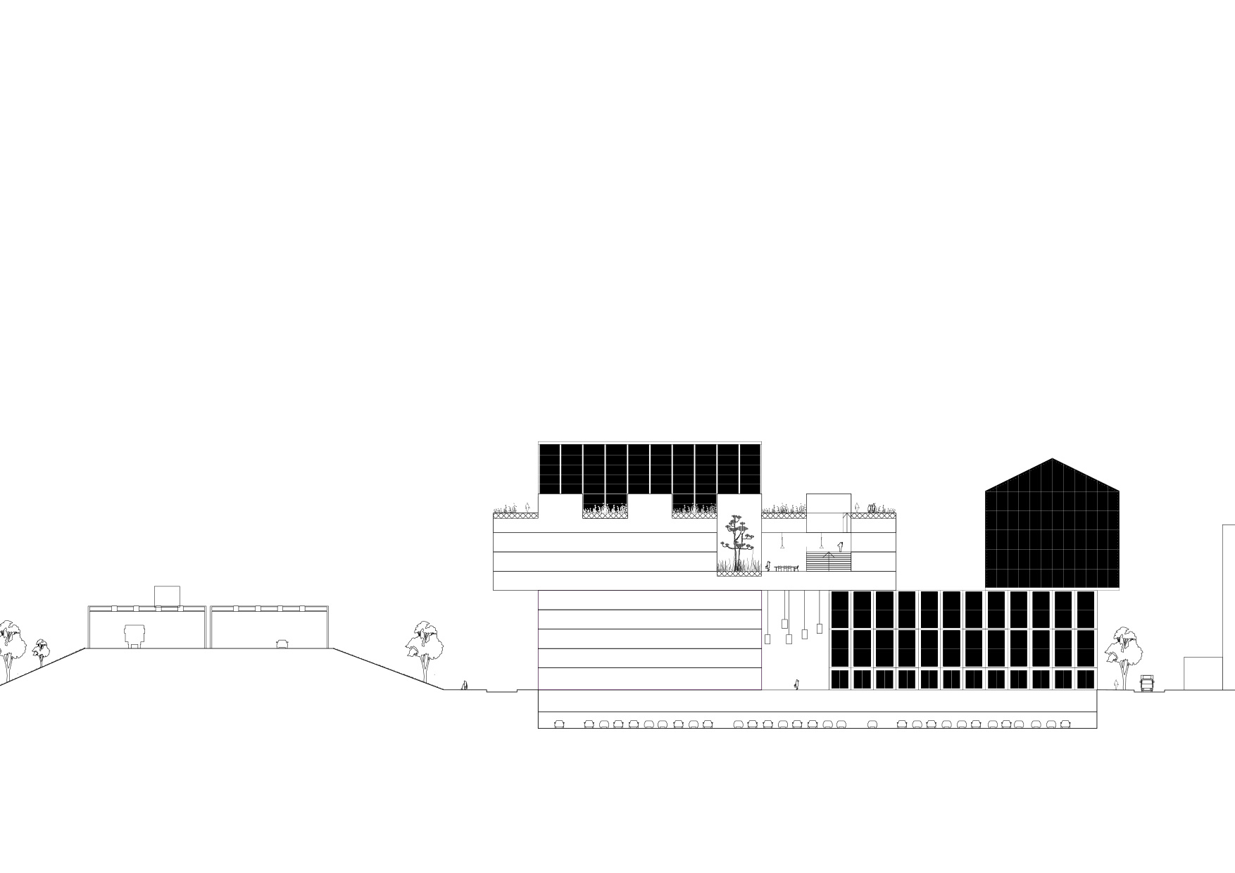 <p>Dwarsdoorsnede met tuin auditorium en loopbaan op het dak</p>