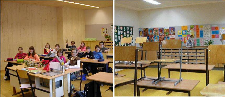 Het standaard lokaal en het lokaal gemaakt uit een volhoutsysteem in de Hauptschule in Haus im Ennstal, Oostenrijk Blog Daan Bruggink
