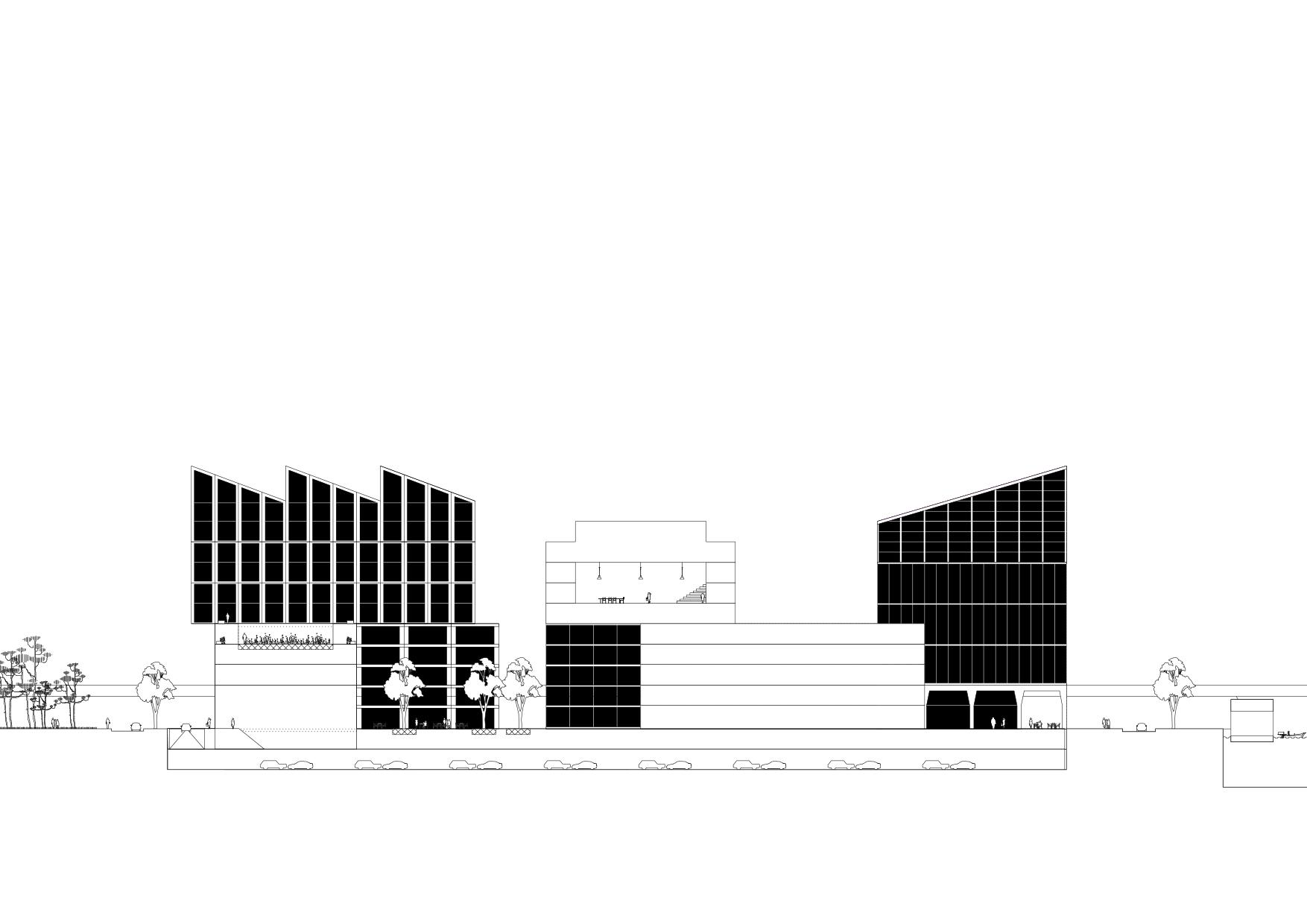 <p>Langsdoorsnede met Meditatietuin als Hortus conclusus op het dak</p>