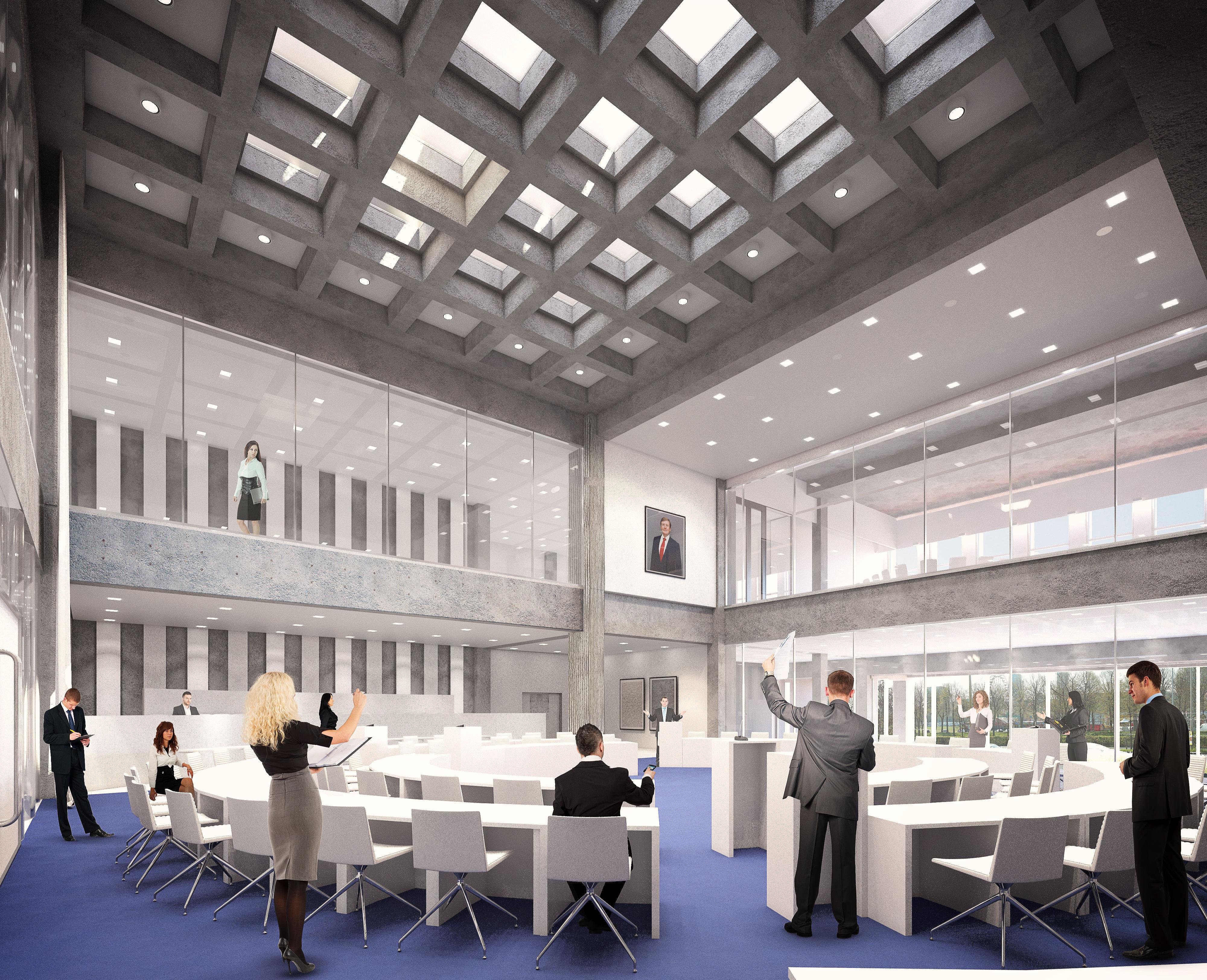 <p>De Statenzaal komt op de plek van de huidige evenementenhal. Een deel van de buitenmuur wordt voorzien van glas, waardoor er in de Statenzaal, vanaf de straatzijde, daglicht binnenkomt. Door de lichtdoorlatende vlakken in het dak en door de vloer van de tweede etage komt er ook van bovenaf licht naar binnen. Hierdoor is de zaal licht en open</p>