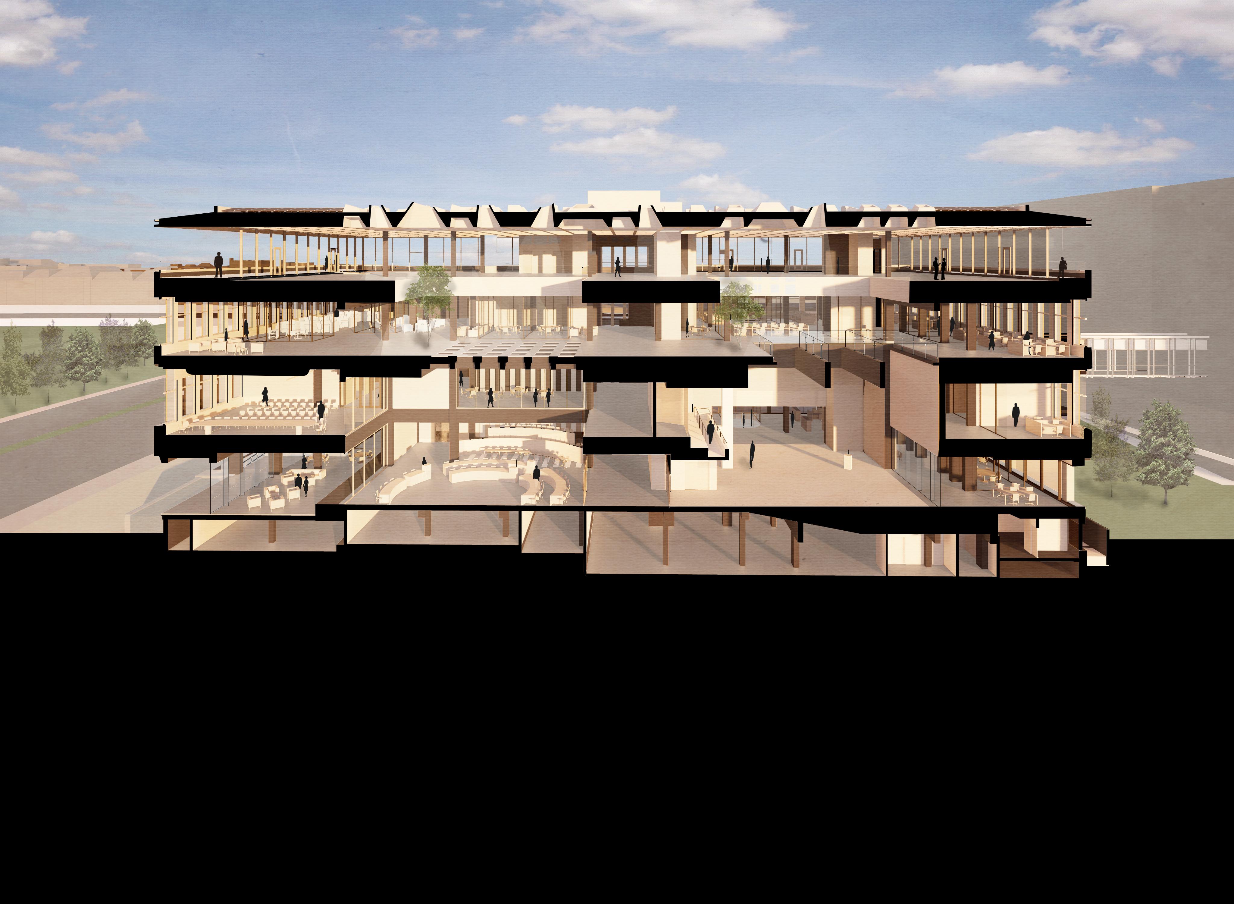 <p>De doorsnede van het gebouw vanaf de pleinkant geeft een goed beeld van de indeling en van de lichtinval. Door de keuze voor vides op de verdiepingen, voor glazen wanden en voor lichtdoorlatende vlakken op de tweede etage, wordt het hoofdgebouw een buitengewoon open en licht gebouw</p>