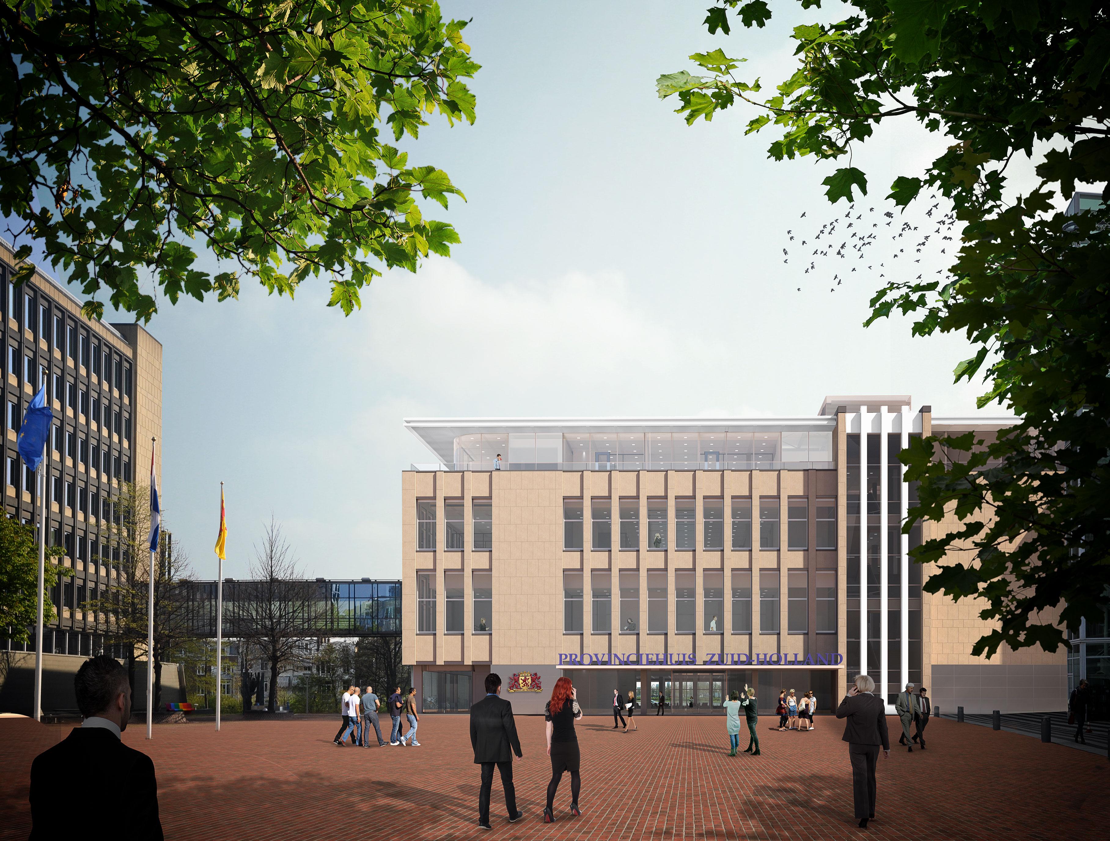 <p>De hoofdingang van het provinciehuis blijft gesitueerd aan het Zuid-Hollandplein, zoals voorheen. De entree krijgt een meer open karakter</p>