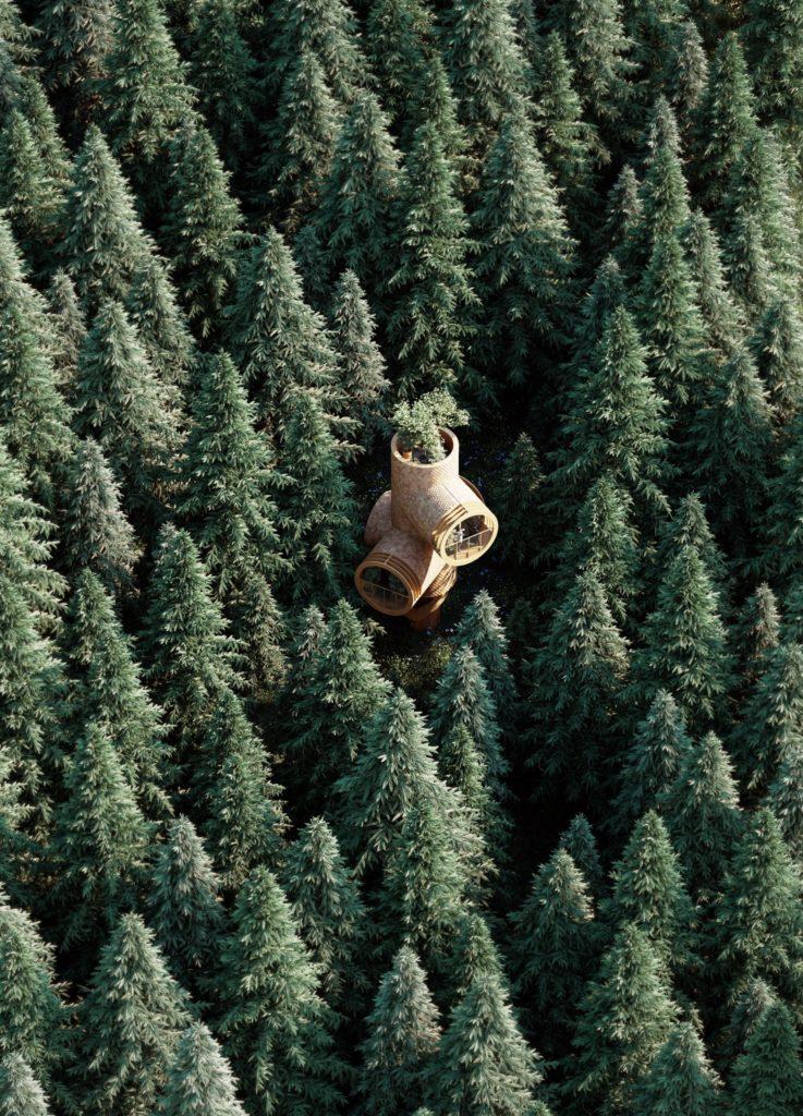 Conceptueel Tiny Treehouse Bert door Atelier Precht