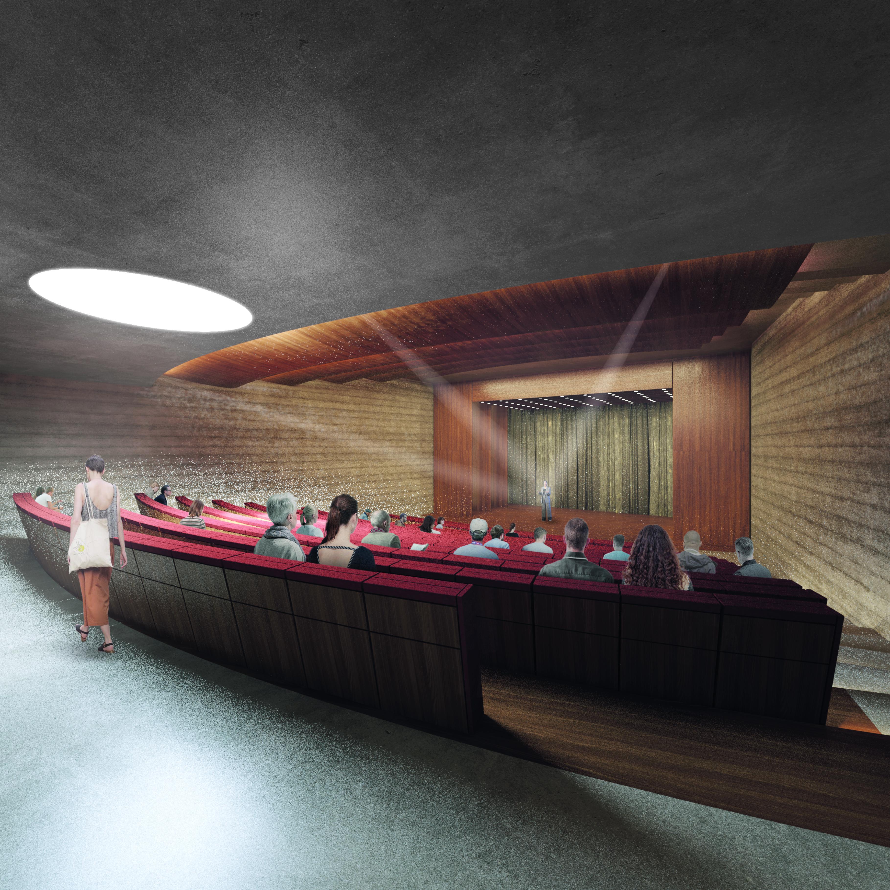 <p>Auditorium. Beeld Stanton Williams</p>