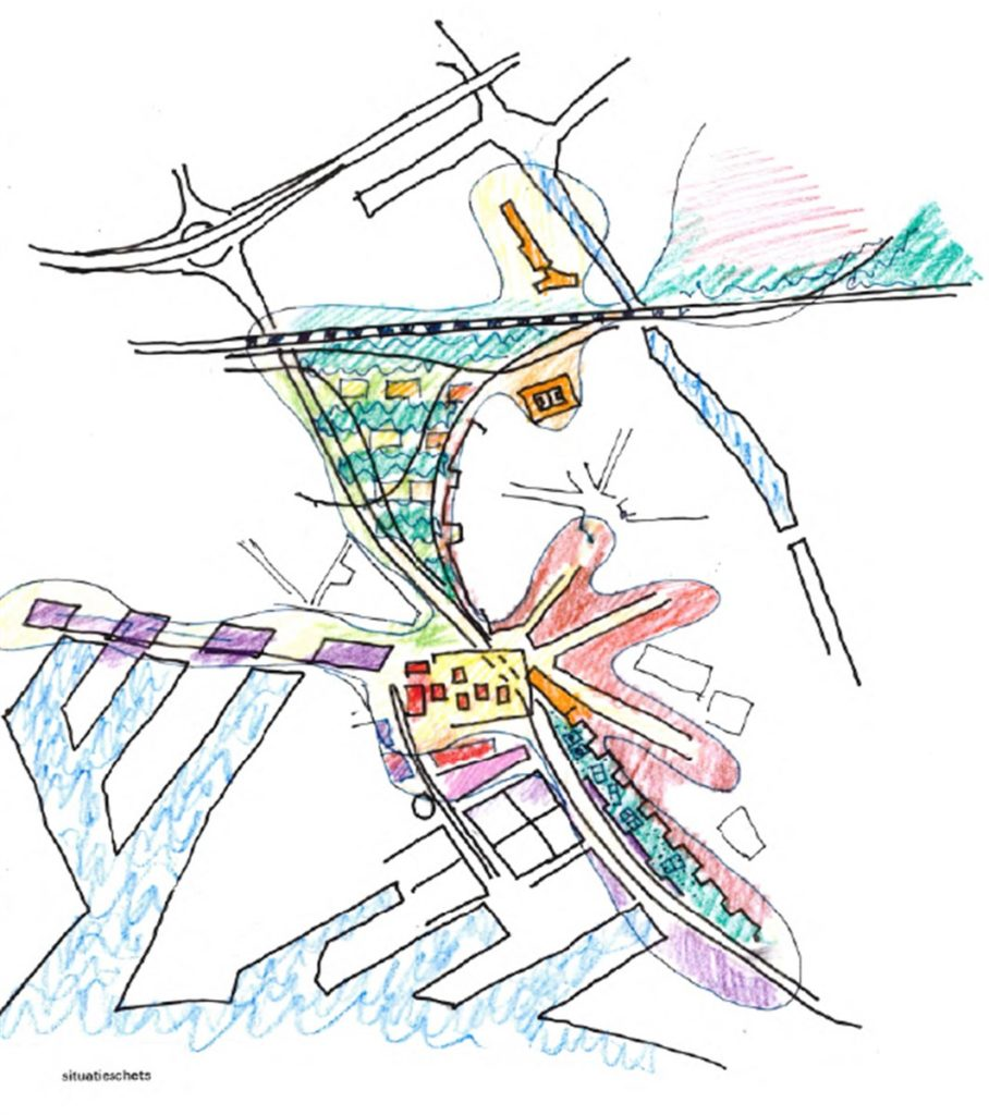 Strategisch plan (2000) voor Marconiplein Rotterdam. Beeld Matthijs de Boer