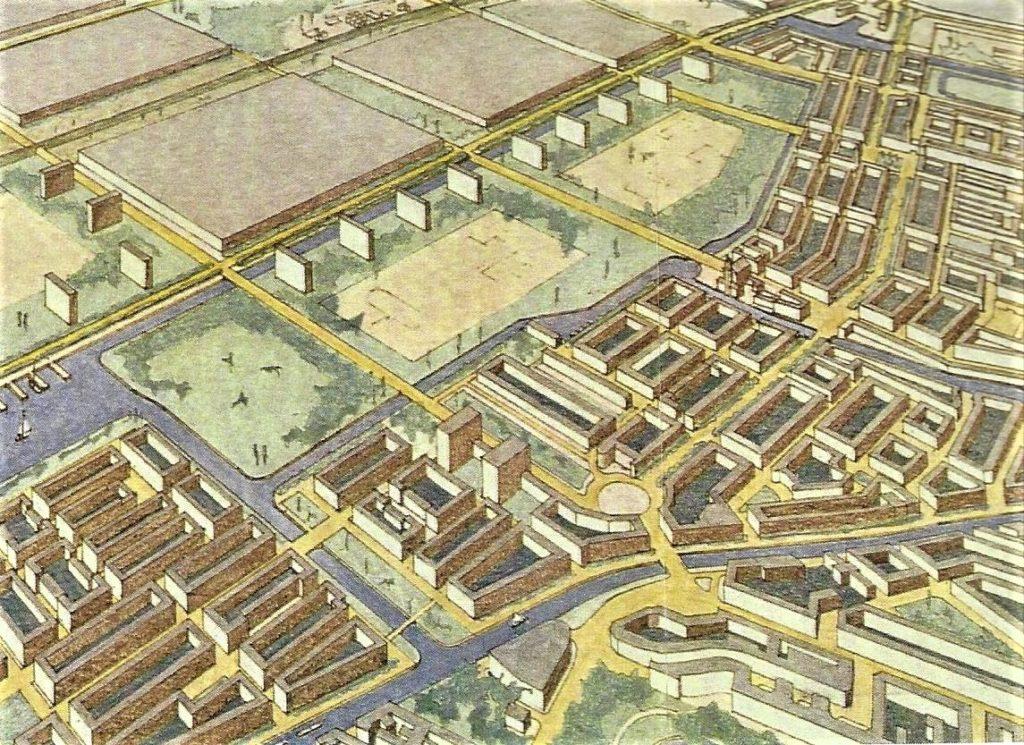 Ontwerp C. van Eesteren tbv koppeling oud en nieuw door routes en parken. Beeld Van Eesteren Museum Amsterdam